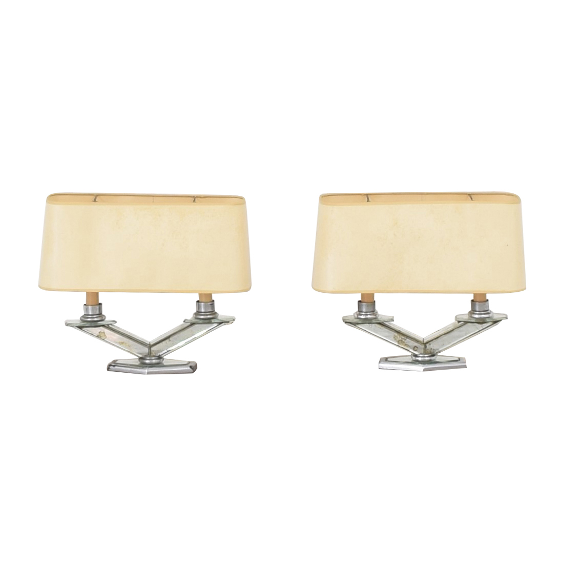 Vintage Style Table Lamps clear and beige