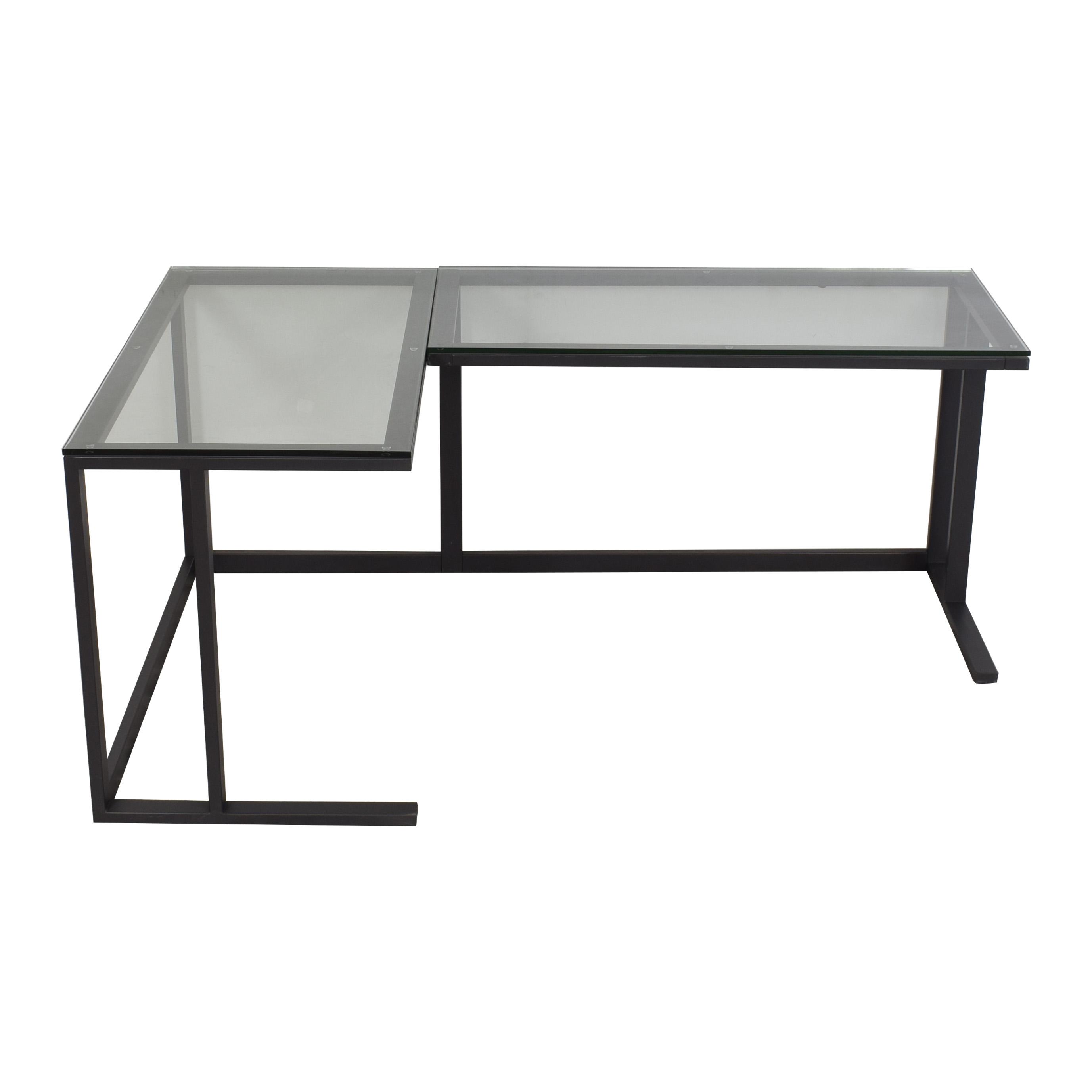 buy Crate & Barrel Pilsen Graphite Corner Desk Crate & Barrel Home Office Desks