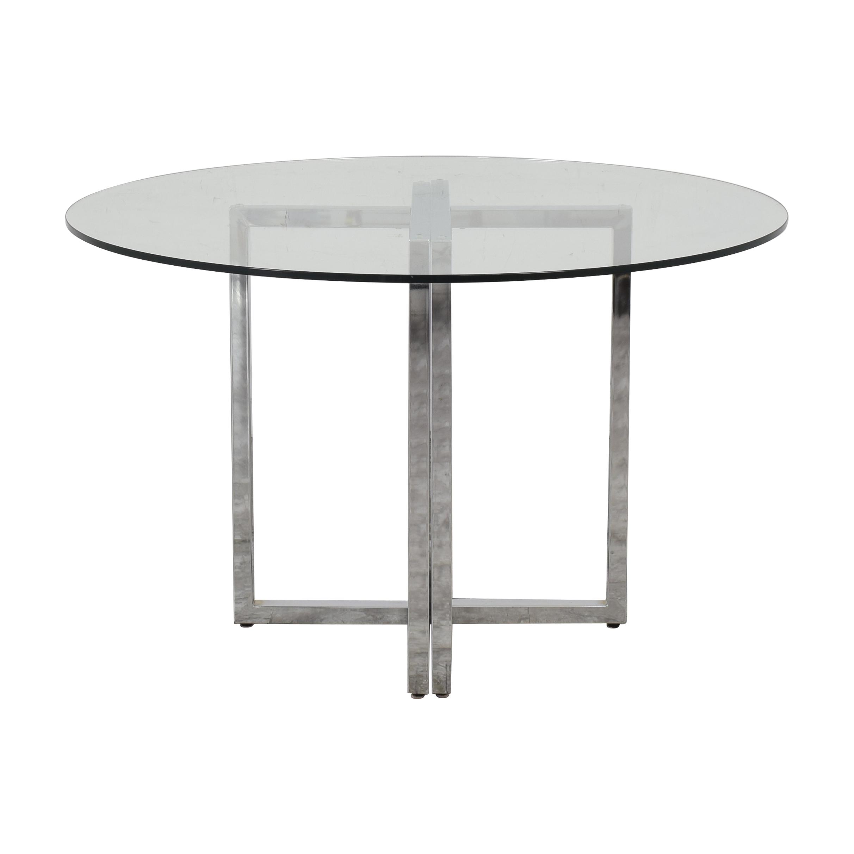 CB2 Silverado Round Chrome and Glass Table CB2