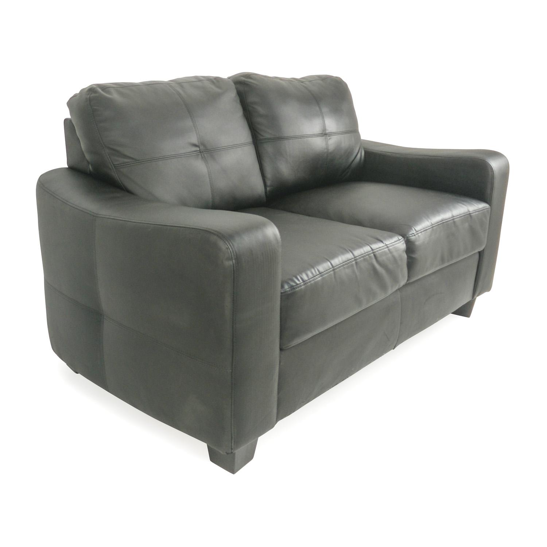 Black Bonded Leather Loveseat / Sofas