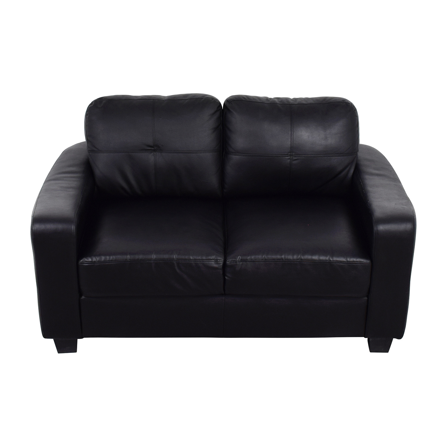 79 Off Black Bonded Leather Loveseat Sofas