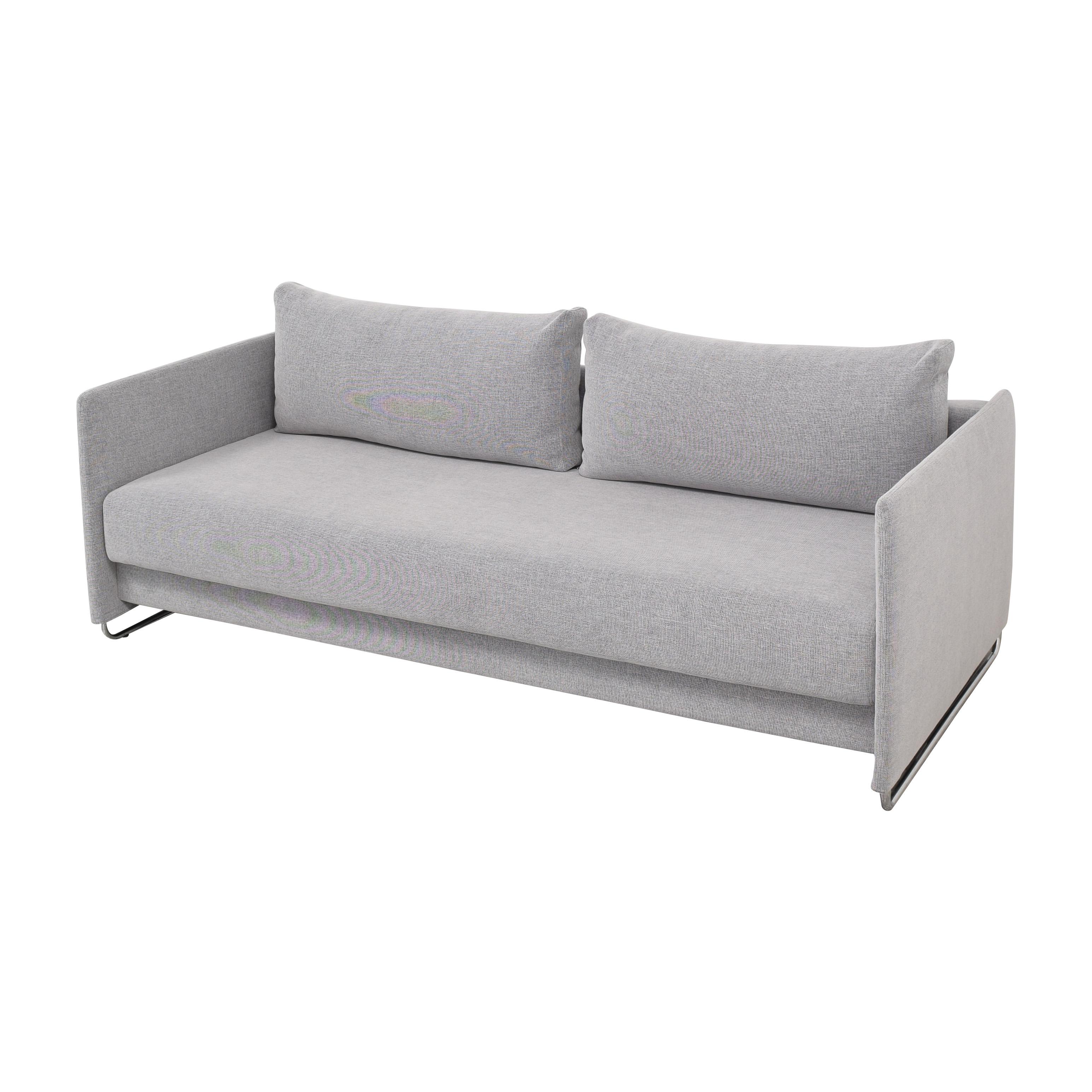 21 OFF   CB2 CB2 Tandom Microgrid Grey Sleeper Sofa / Sofas