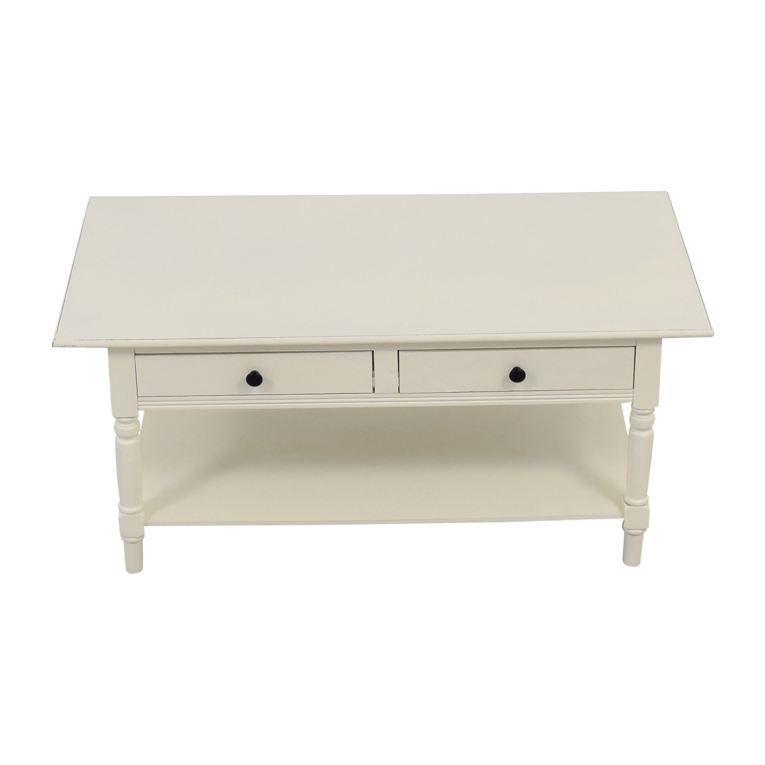 Macys Macys White Two-Drawer Coffee Table for sale