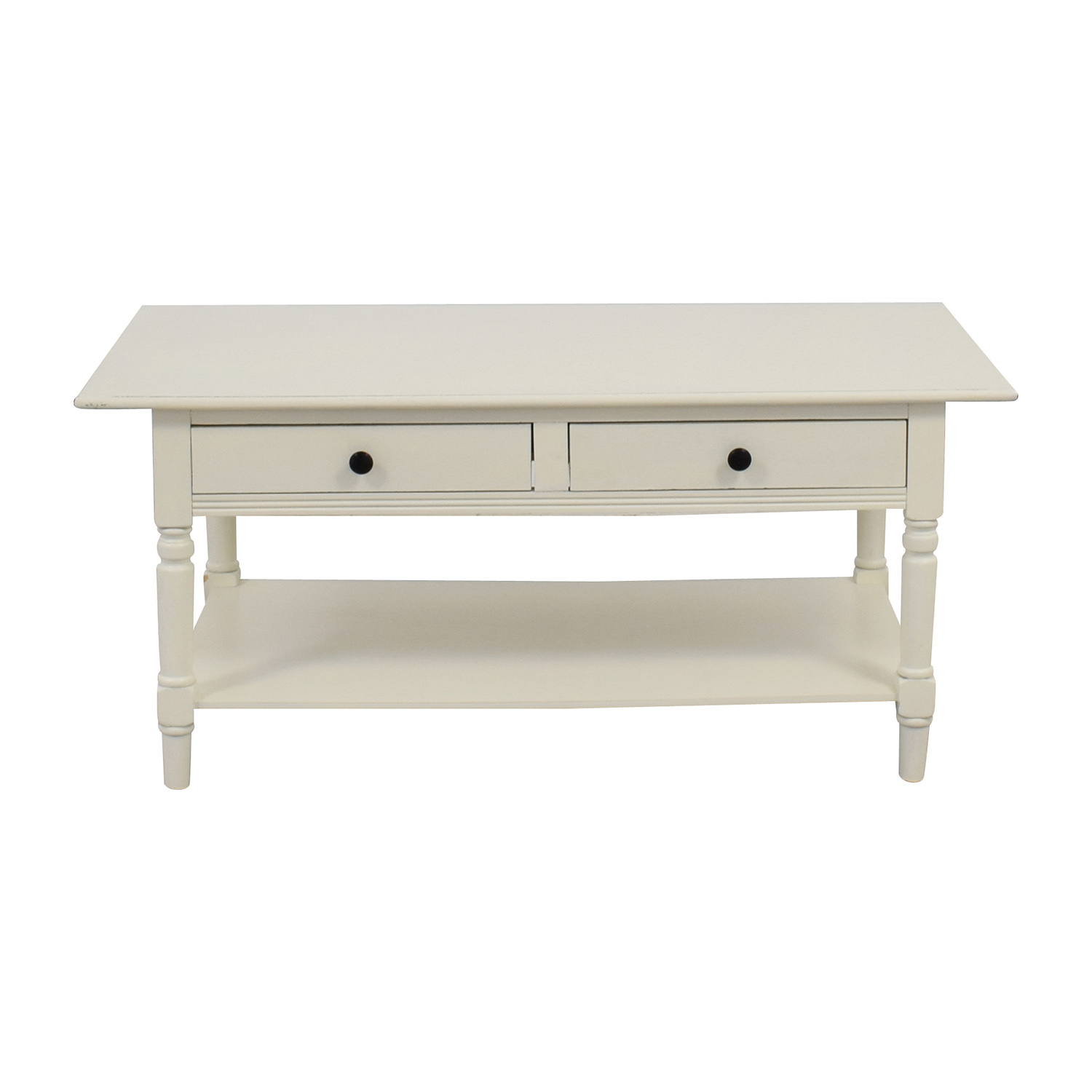 Macys Macys White Two-Drawer Coffee Table Tables