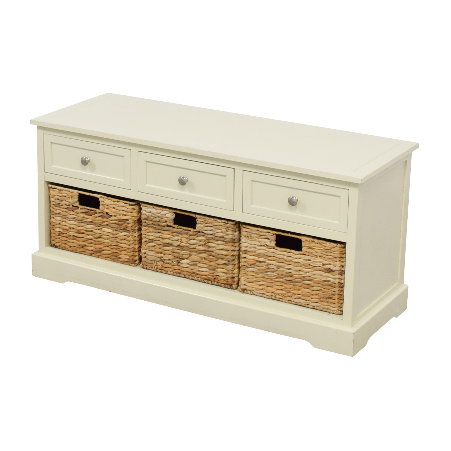 ... Shop White Media Center With Three Wicker Baskets Media Units ...