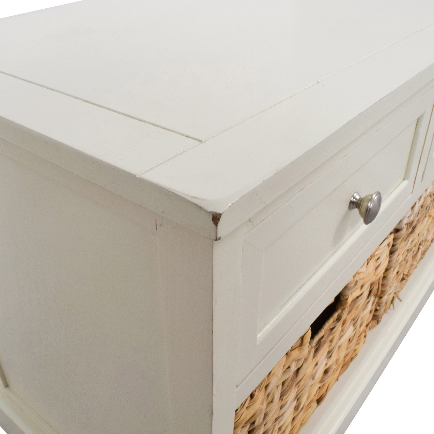 buy White Media Center with Three Wicker Baskets online