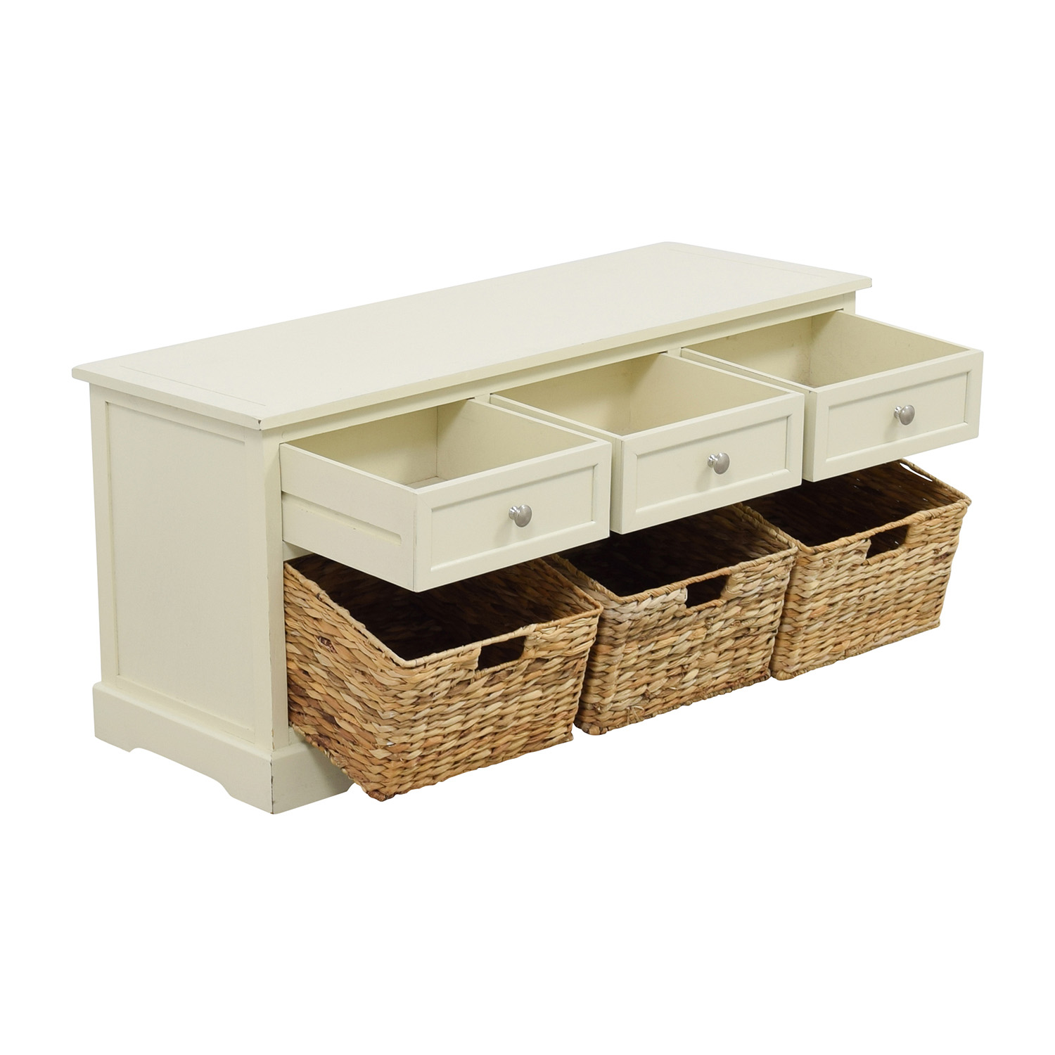 White Media Center with Three Wicker Baskets on sale