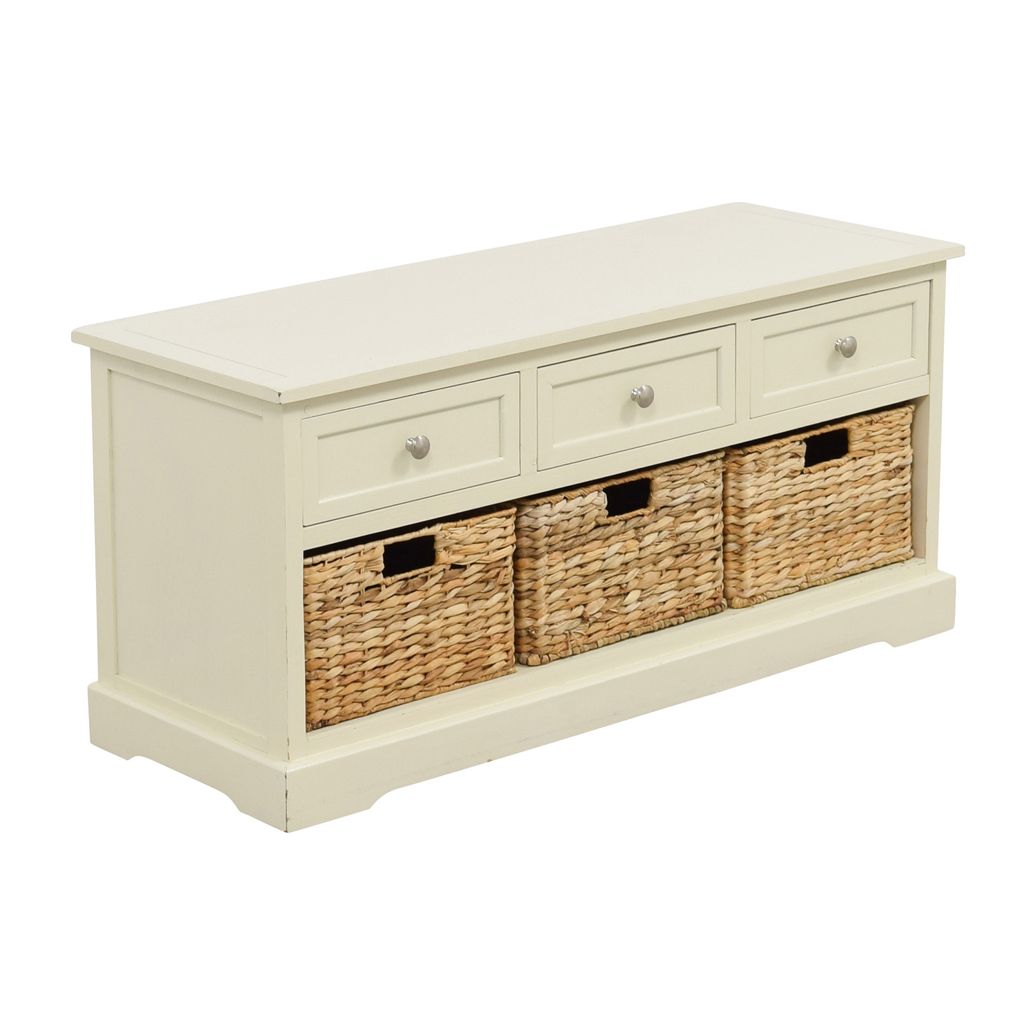 White Media Center with Three Wicker Baskets dimensions