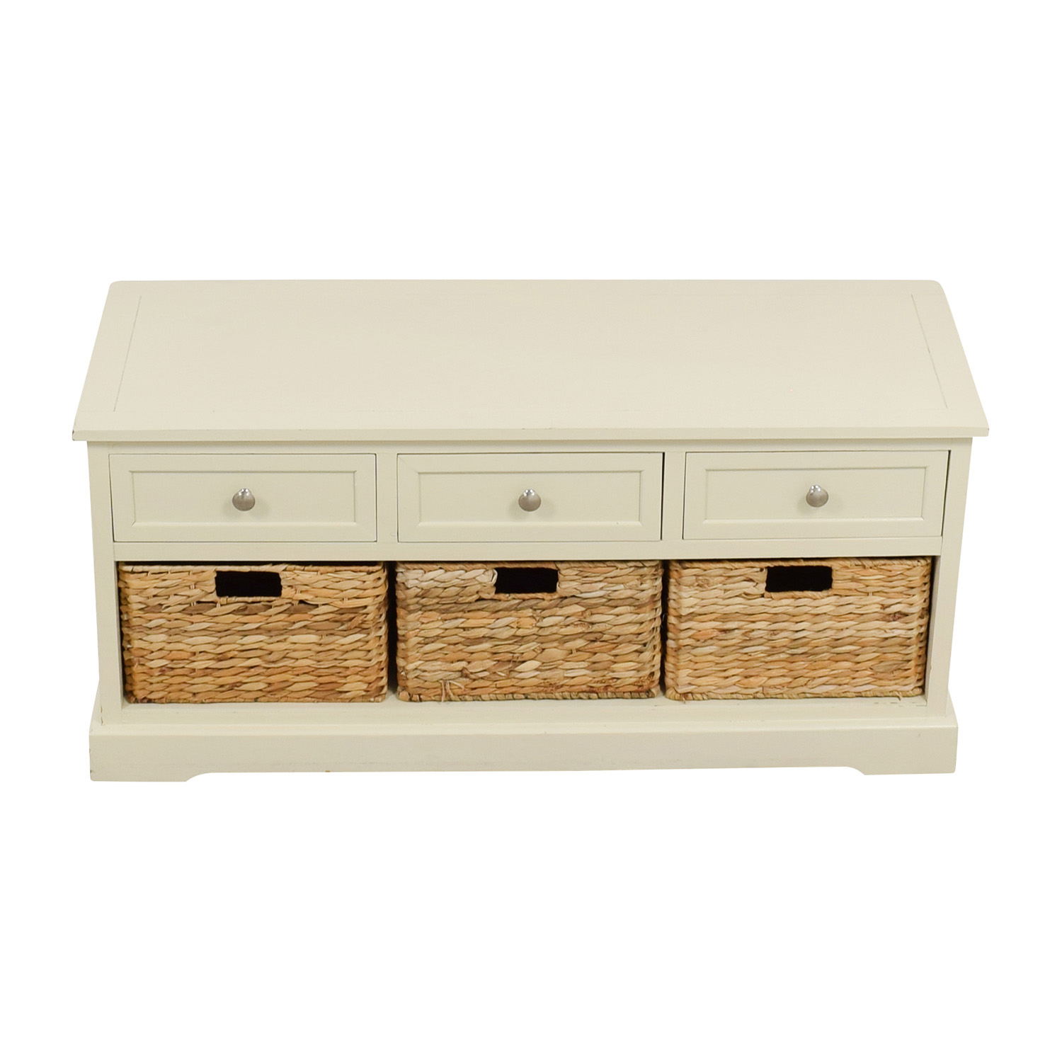 buy White Media Center with Three Wicker Baskets Media Units