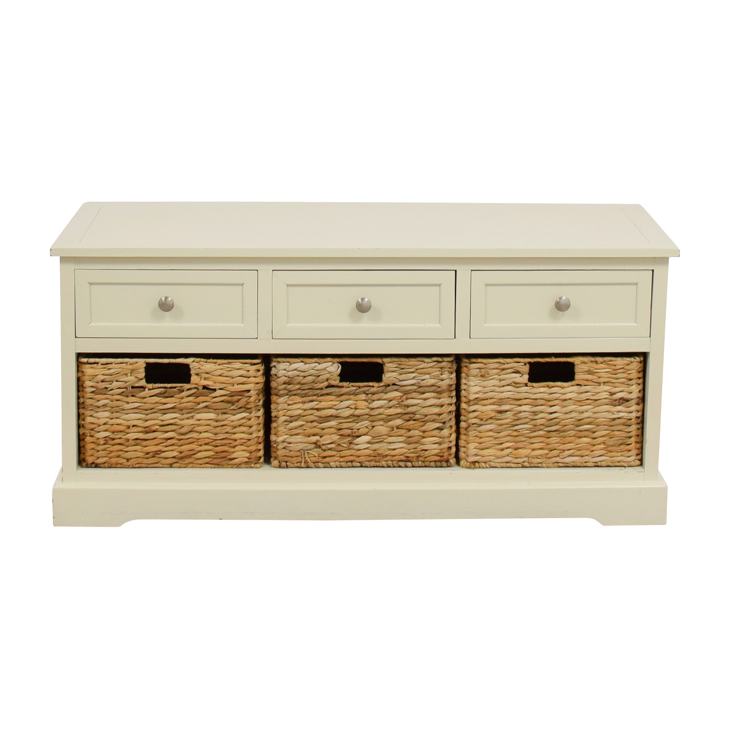 buy White Media Center with Three Wicker Baskets Storage