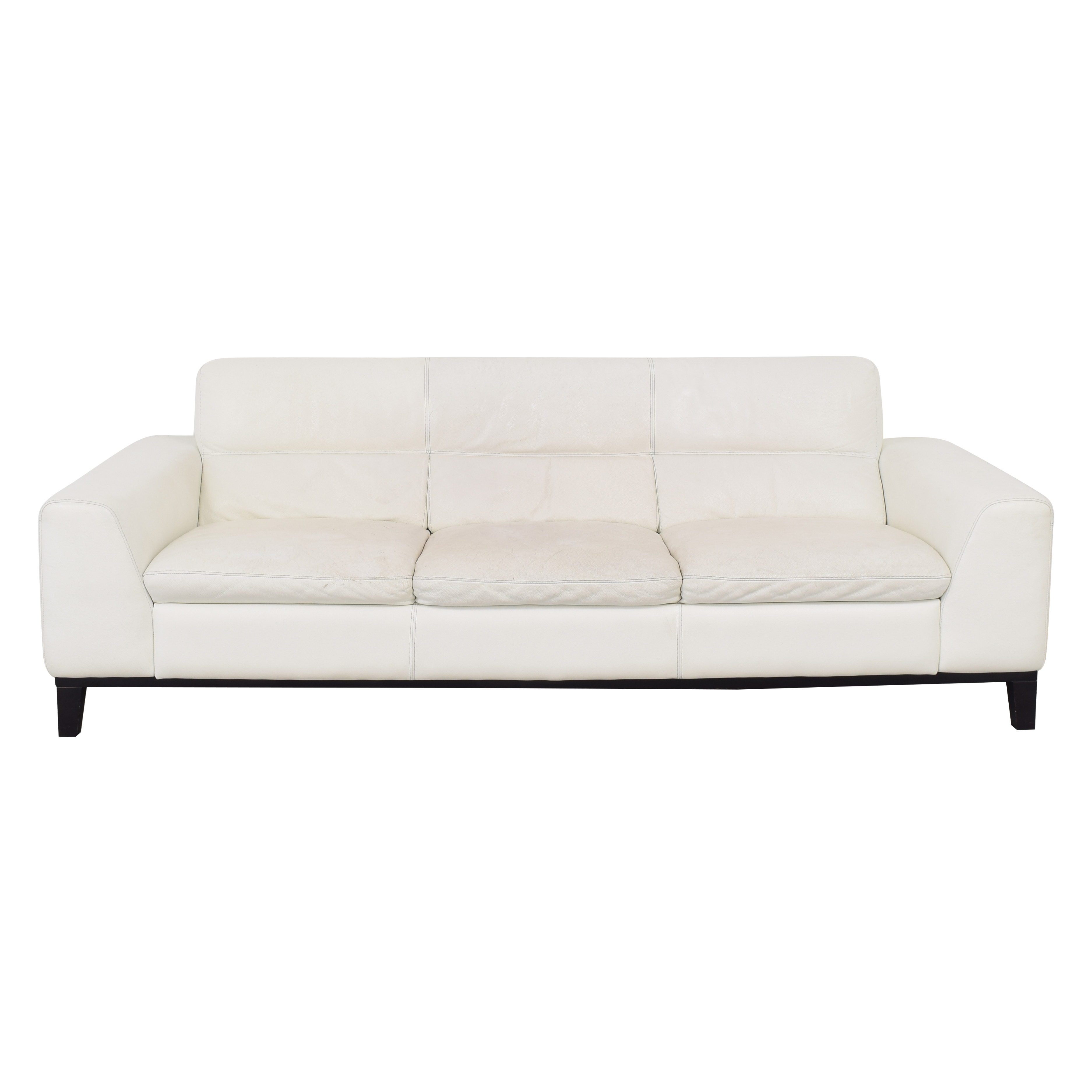 shop Calia Italia Soho 3-Seat Leather Couch Calia Italia Classic Sofas