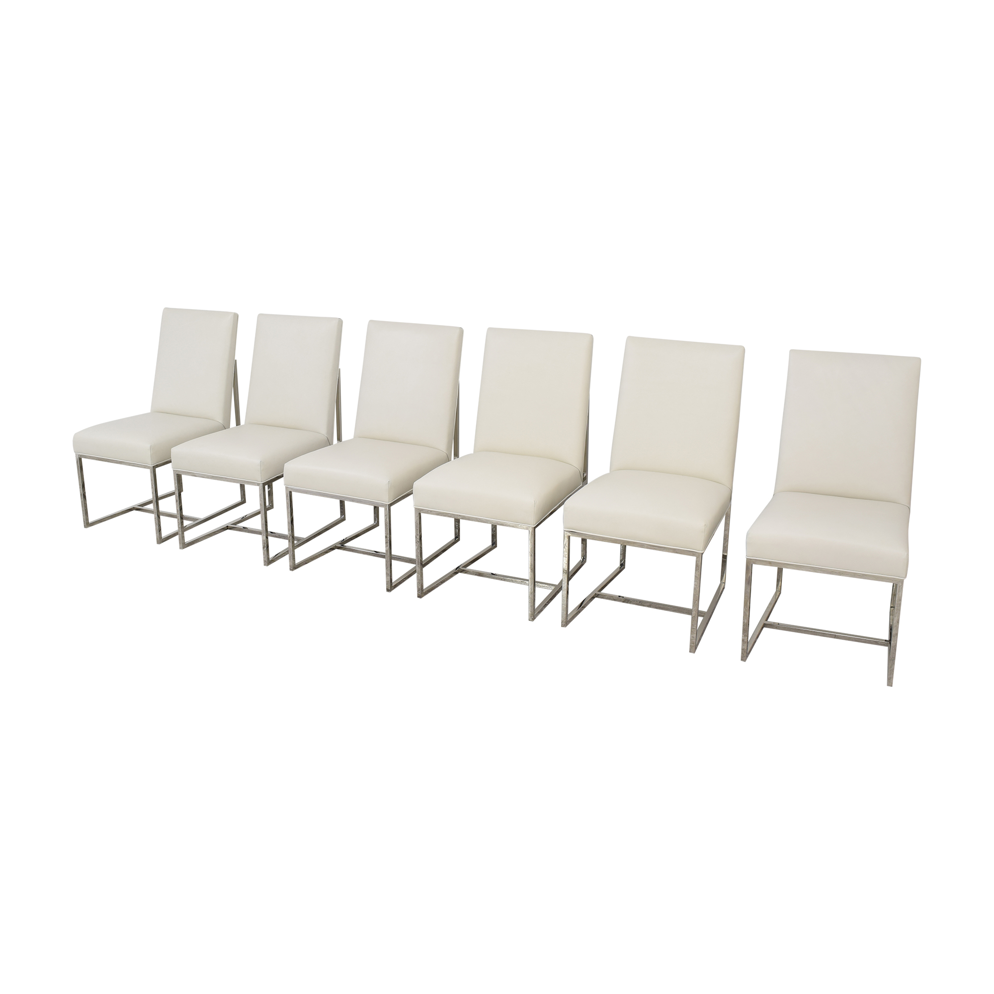 Restoration Hardware Restoration Hardware Grant Leather Side Chairs white and silver