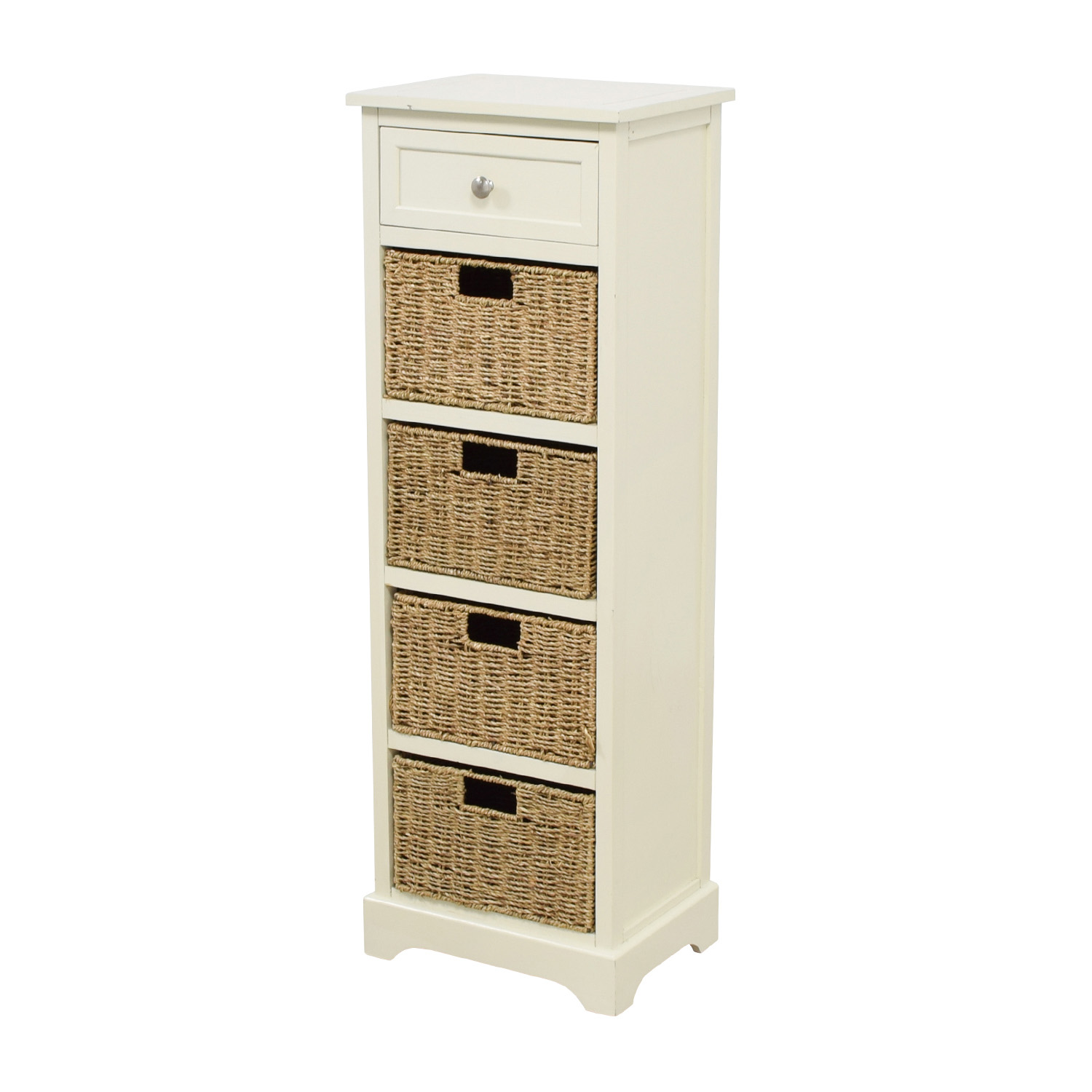 buy Tall White Storage Unit with Drawer and Wicker Baskets