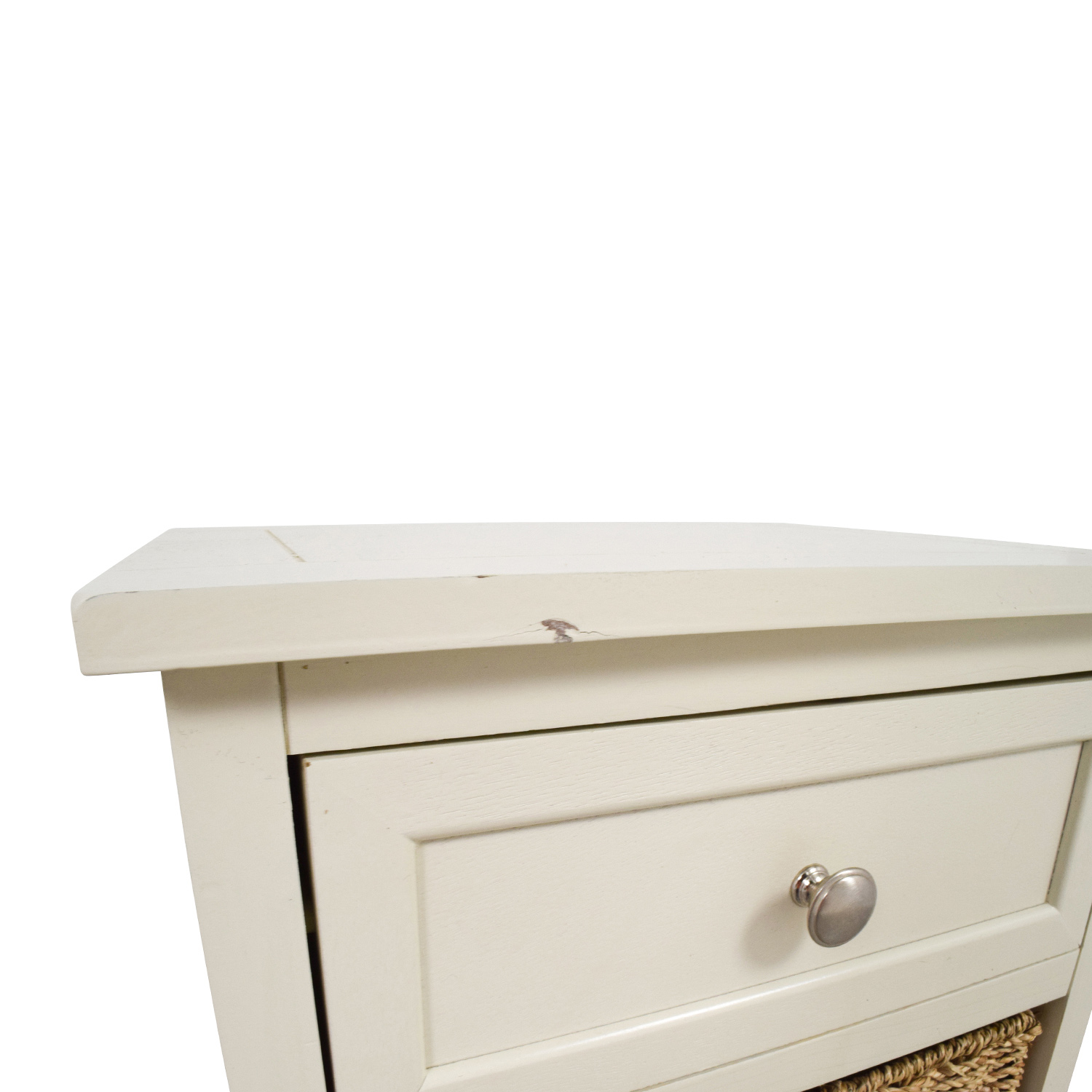 shop Tall White Storage Unit with Drawer and Wicker Baskets Storage