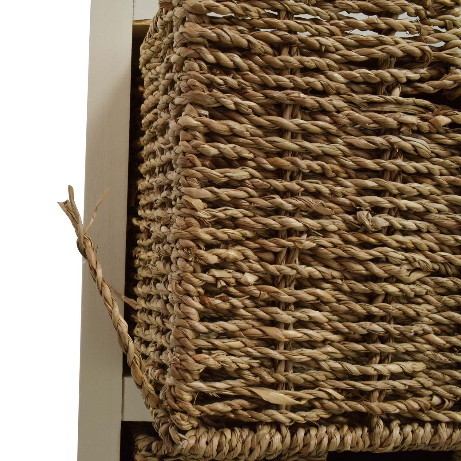 Tall White Storage Unit with Drawer and Wicker Baskets dimensions