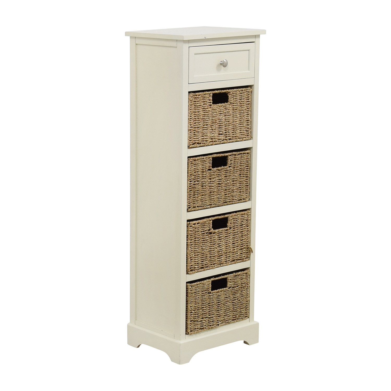 Tall White Storage Unit with Drawer and Wicker Baskets / Storage