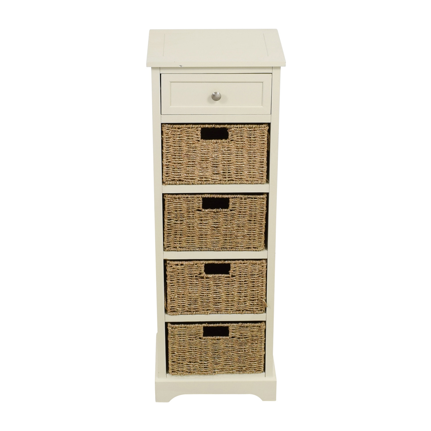 Tall White Storage Unit with Drawer and Wicker Baskets discount