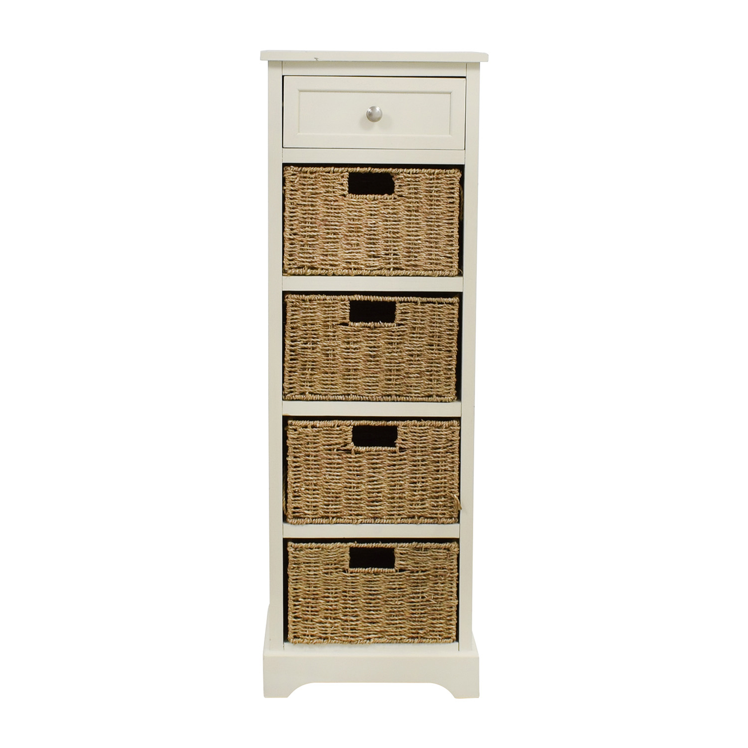 tall white storage unit with drawer and wicker baskets