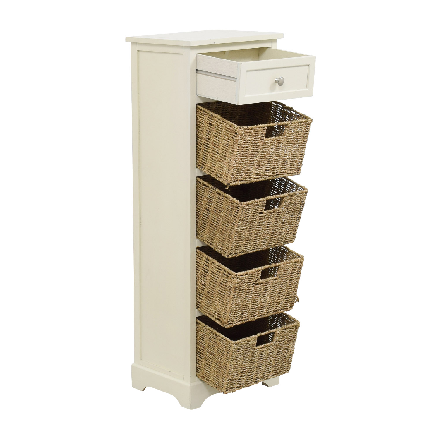 Tall shelf with wicker baskets : Off tall white storage unit with drawer and wicker