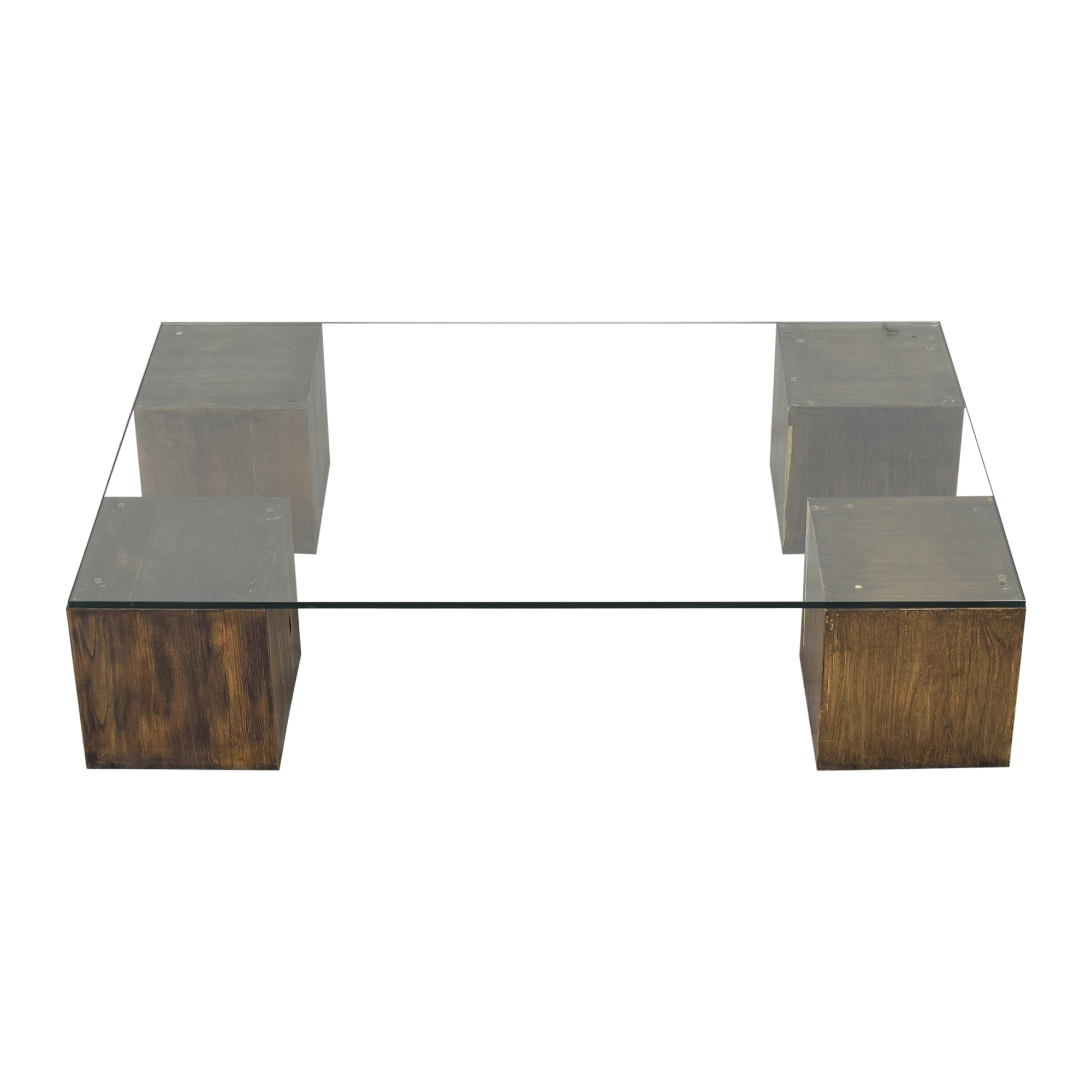 West Elm West Elm Raw Cube Coffee Table dark brown and clear