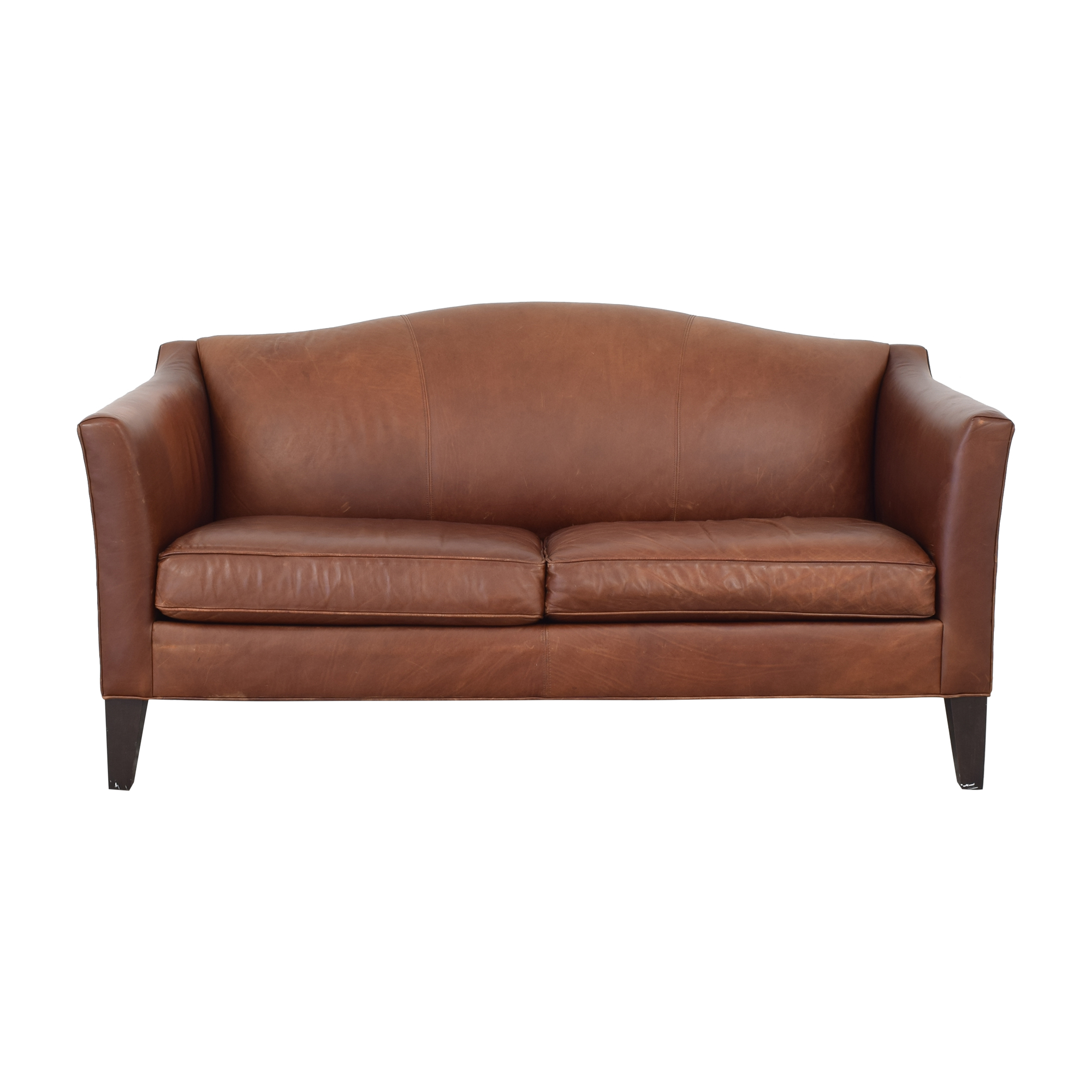 Ethan Allen Leather Camelback Sofa / Classic Sofas