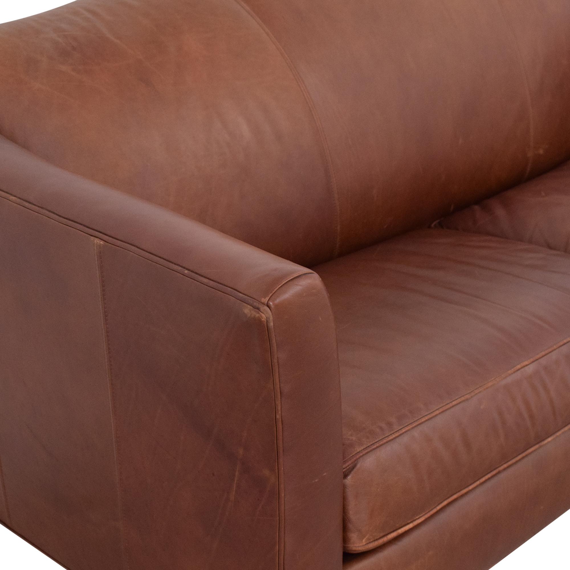 Ethan Allen Ethan Allen Leather Camelback Sofa pa