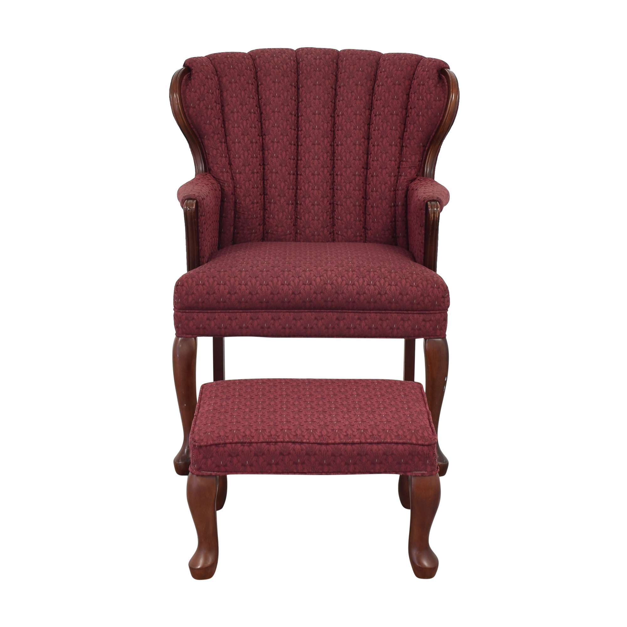 Best Chairs Queen Anne Scallop-Back Chair and Ottoman sale