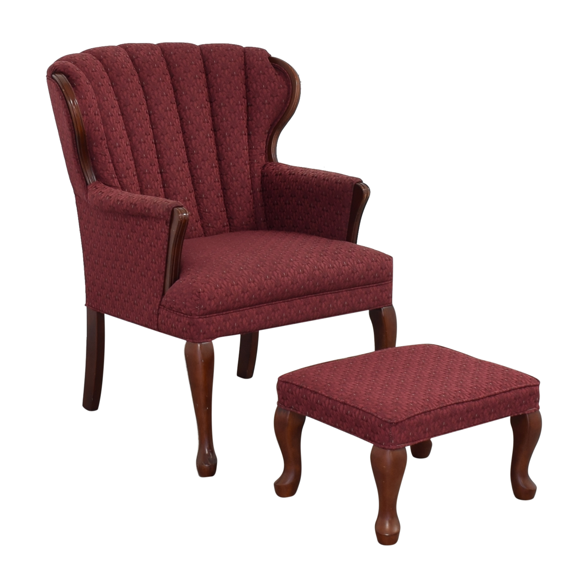 buy Best Chairs Queen Anne Scallop-Back Chair and Ottoman Best Chairs Accent Chairs