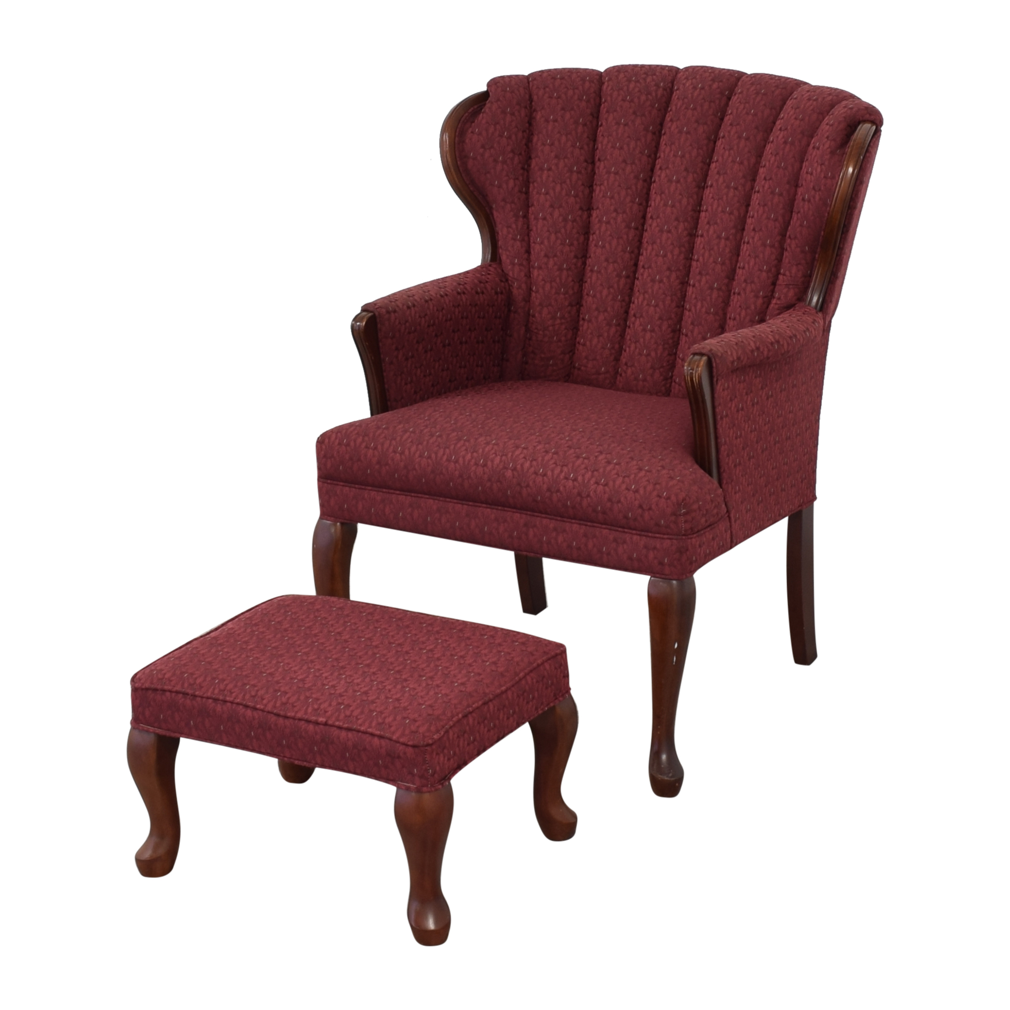 Best Chairs Best Chairs Queen Anne Scallop-Back Chair and Ottoman Chairs