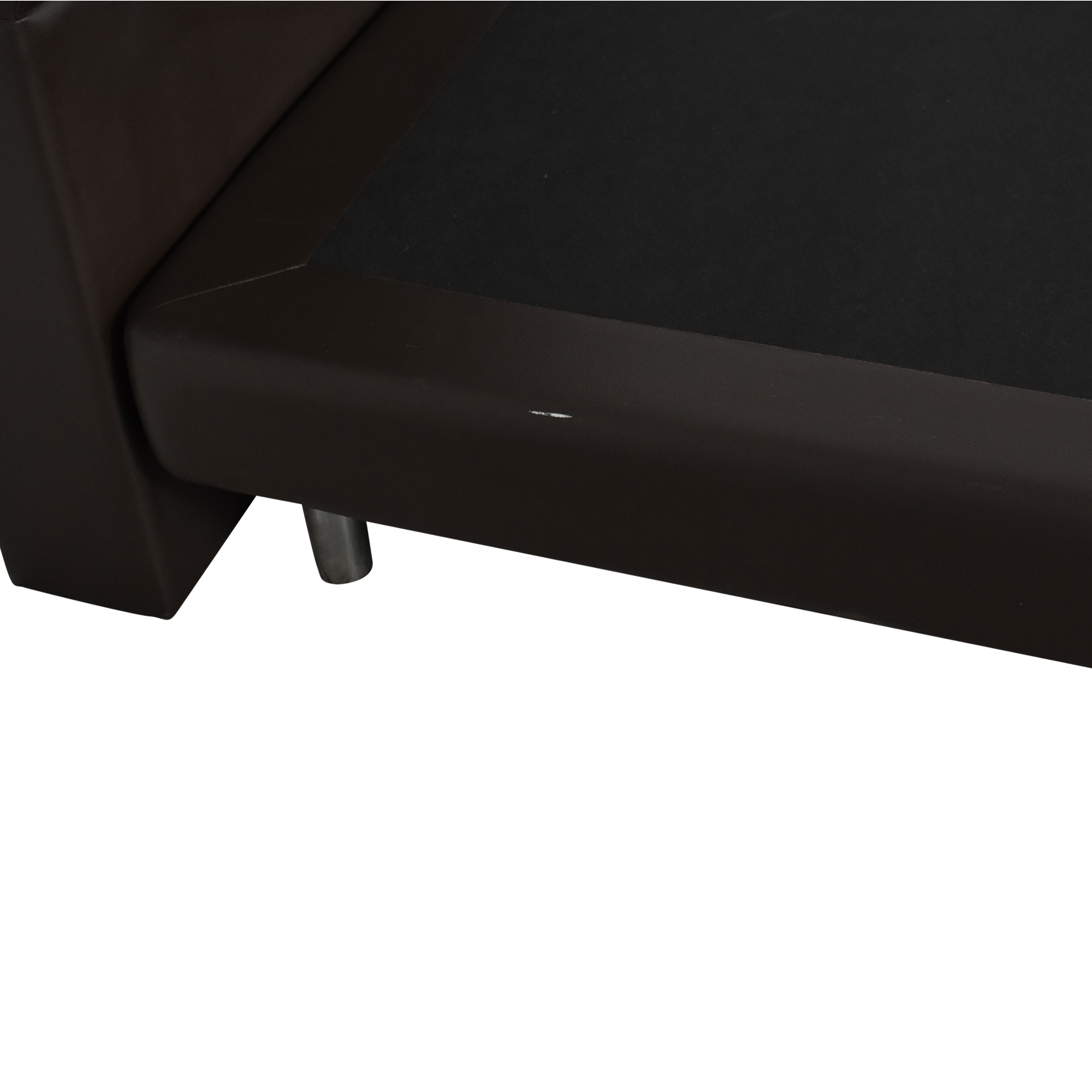 Twin Bed with Padded Headboard dark brown