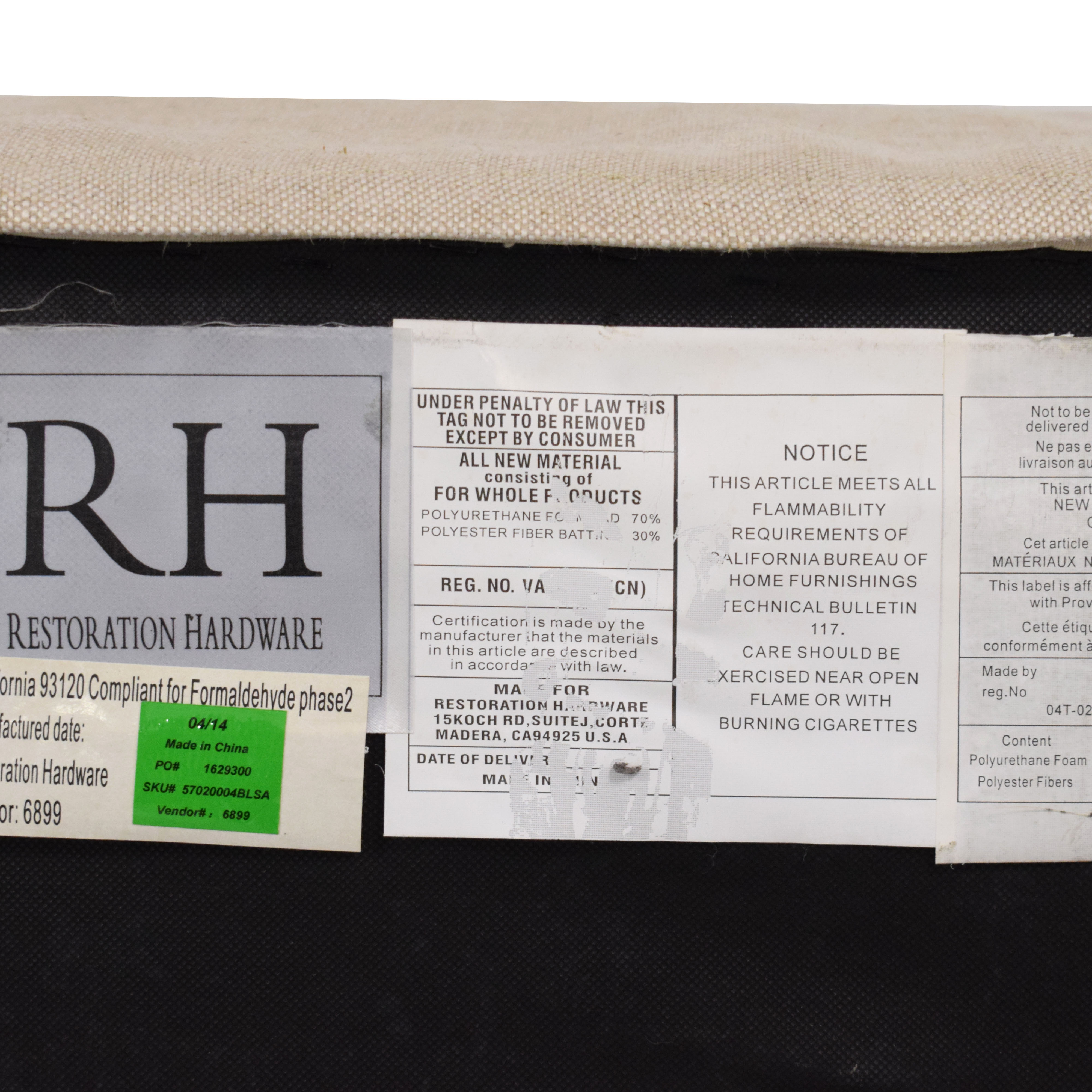 Restoration Hardware Restoration Hardware Belgian Track Arm Upholstered Sofa dimensions