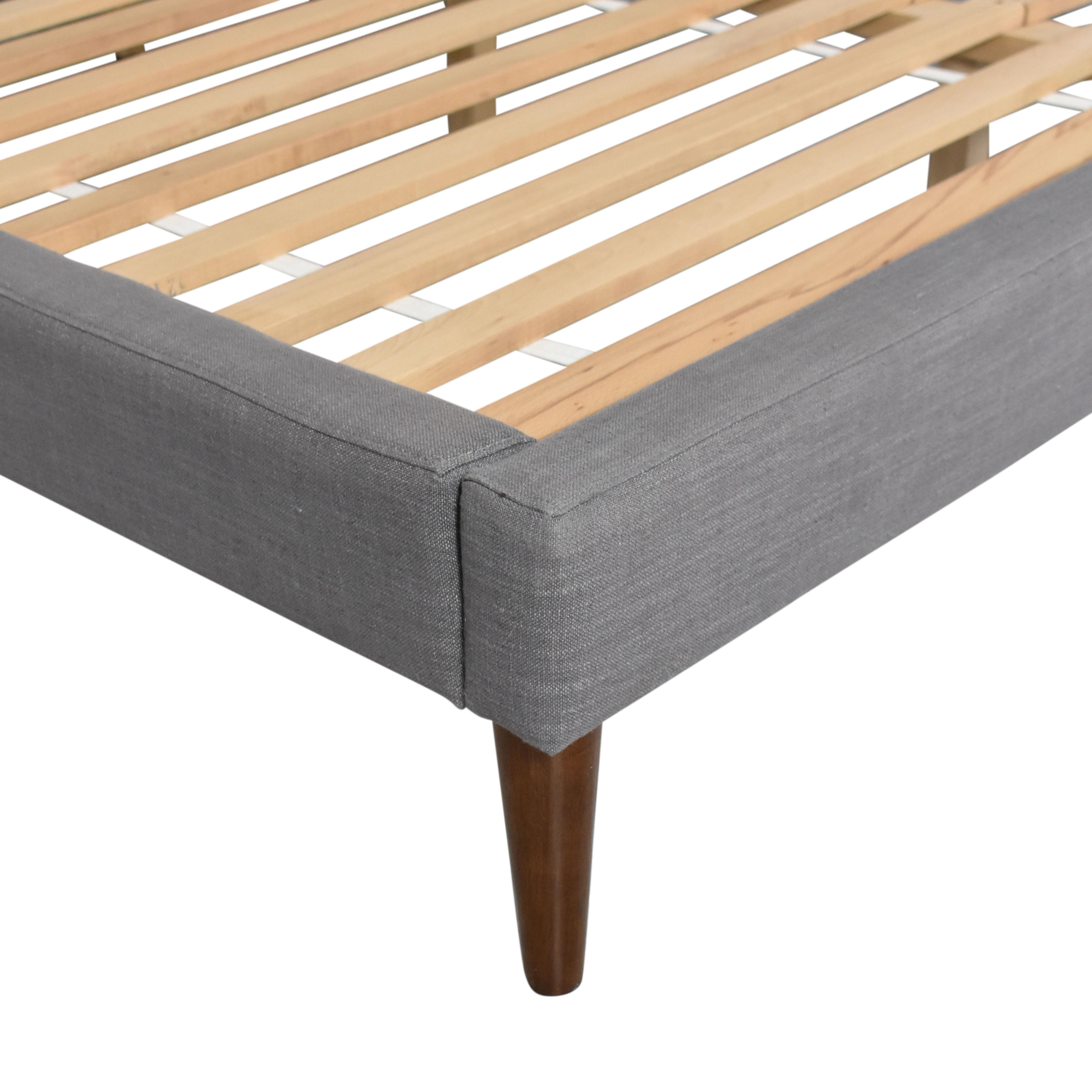 buy West Elm Grid-Tufted Upholstered Tapered Leg King Bed West Elm