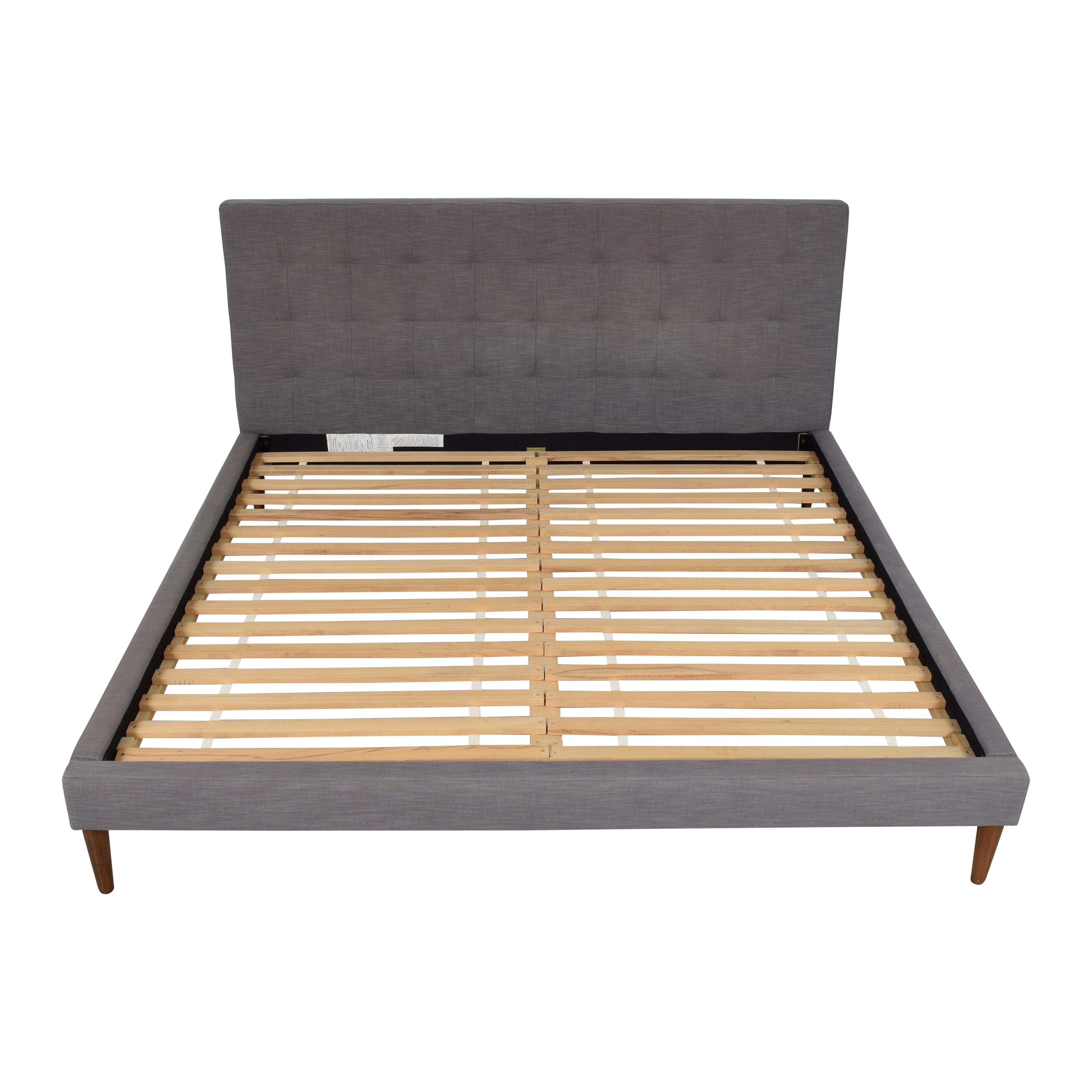 West Elm Grid-Tufted Upholstered Tapered Leg King Bed / Beds