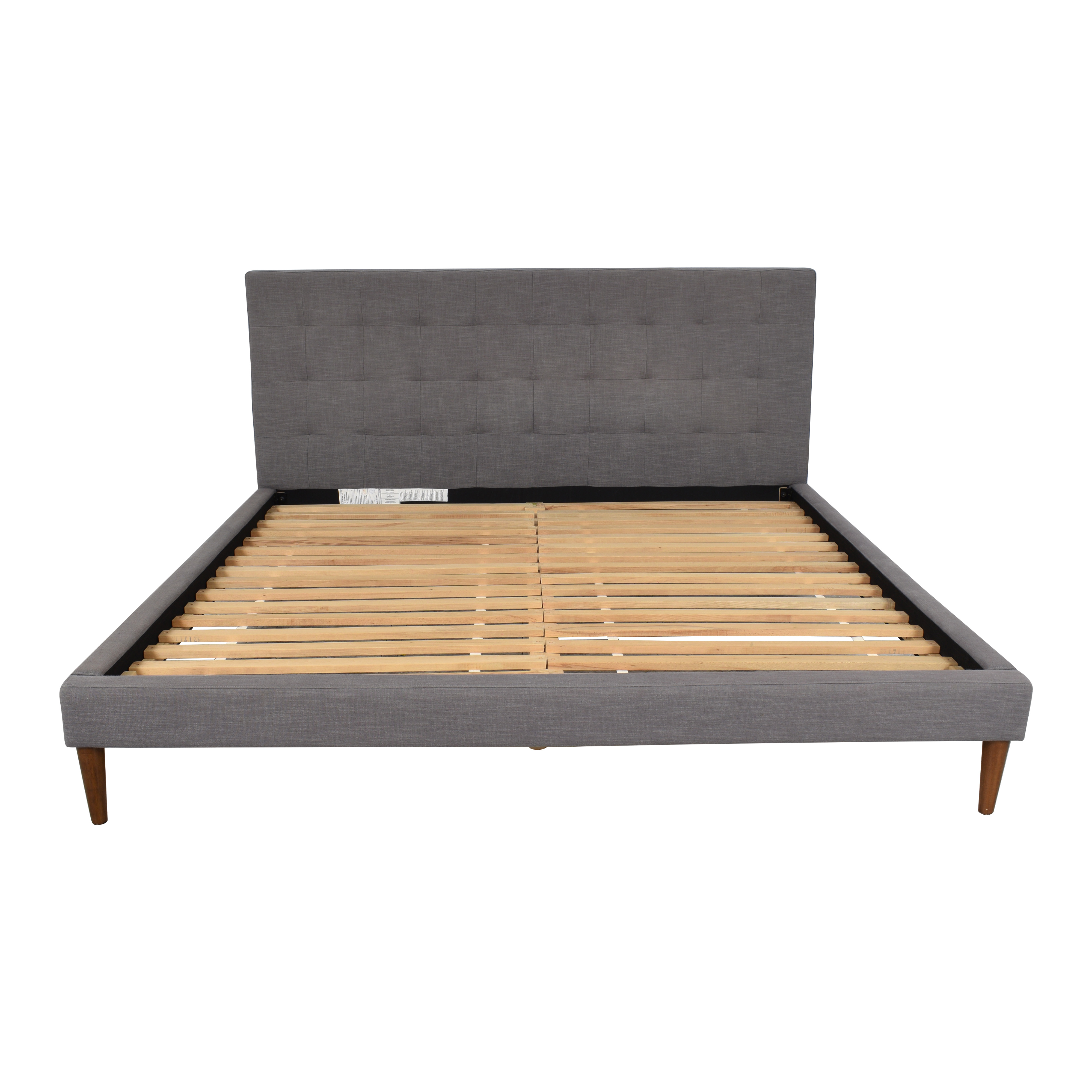 West Elm West Elm Grid-Tufted Upholstered Tapered Leg King Bed nj