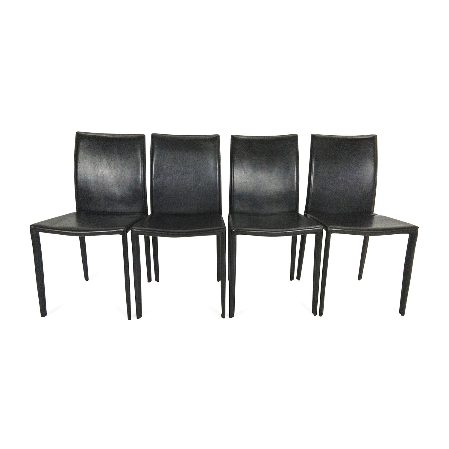 4 Black Faux Leather Chairs nj
