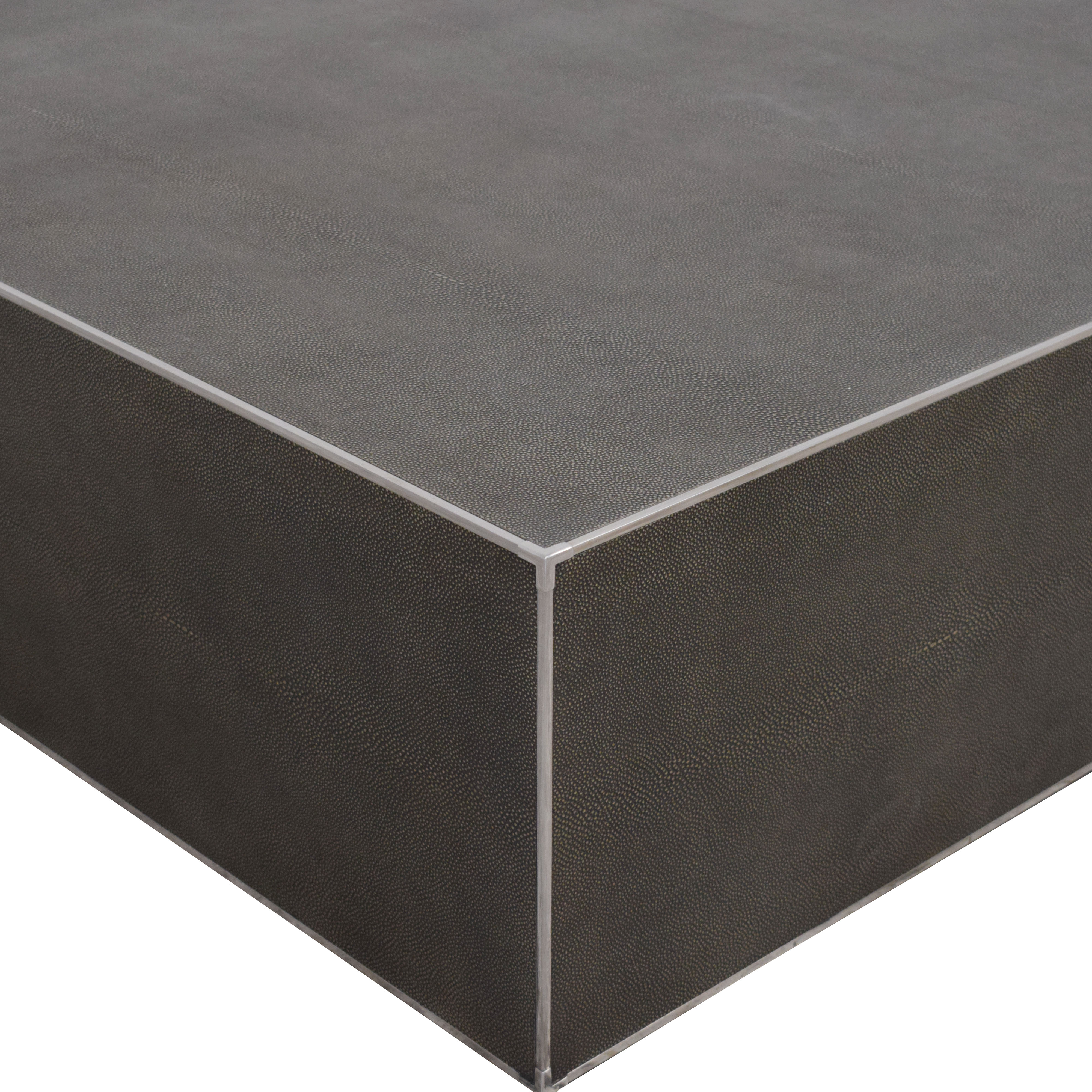 Restoration Hardware Restoration Hardware Saunderson Shagreen Cube Coffee Table discount