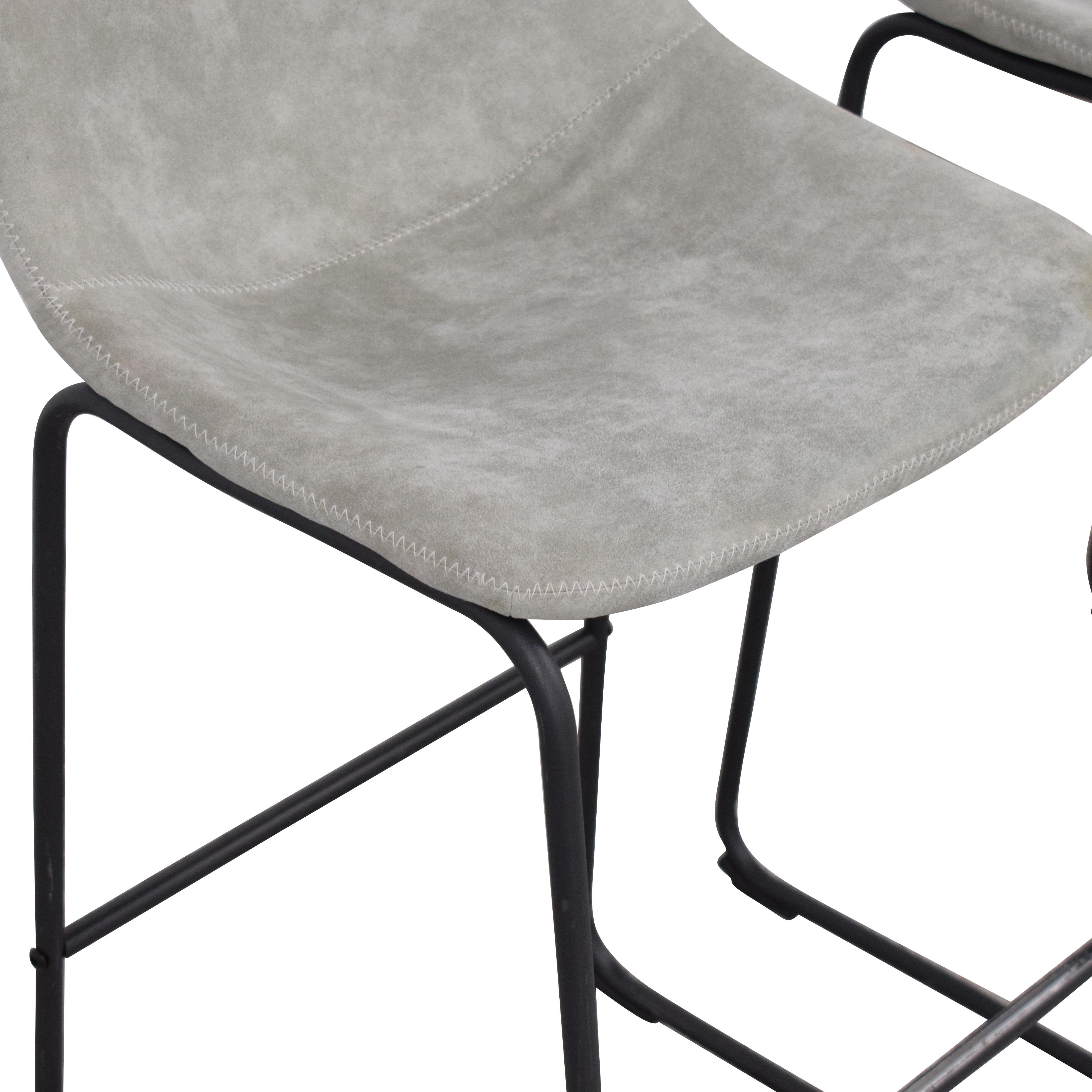 Carbon Loft Carbon Loft Aube Vintage Faux Leather Bar Stools grey and black