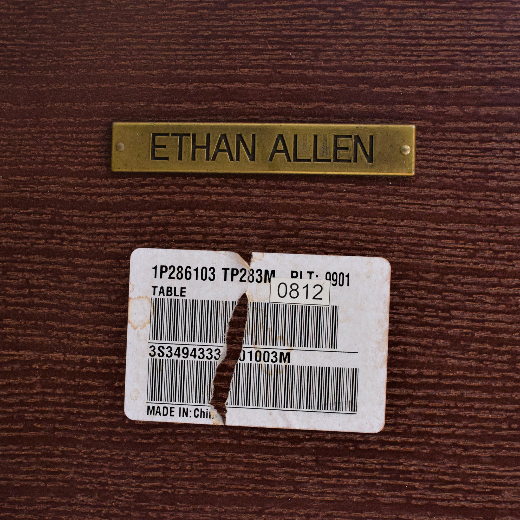 buy Ethan Allen Wood and Chrome Dining Table Ethan Allen