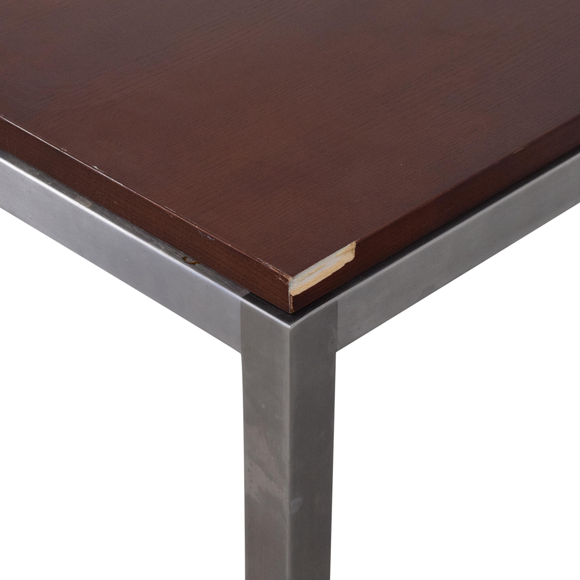 Ethan Allen Wood and Chrome Dining Table / Tables