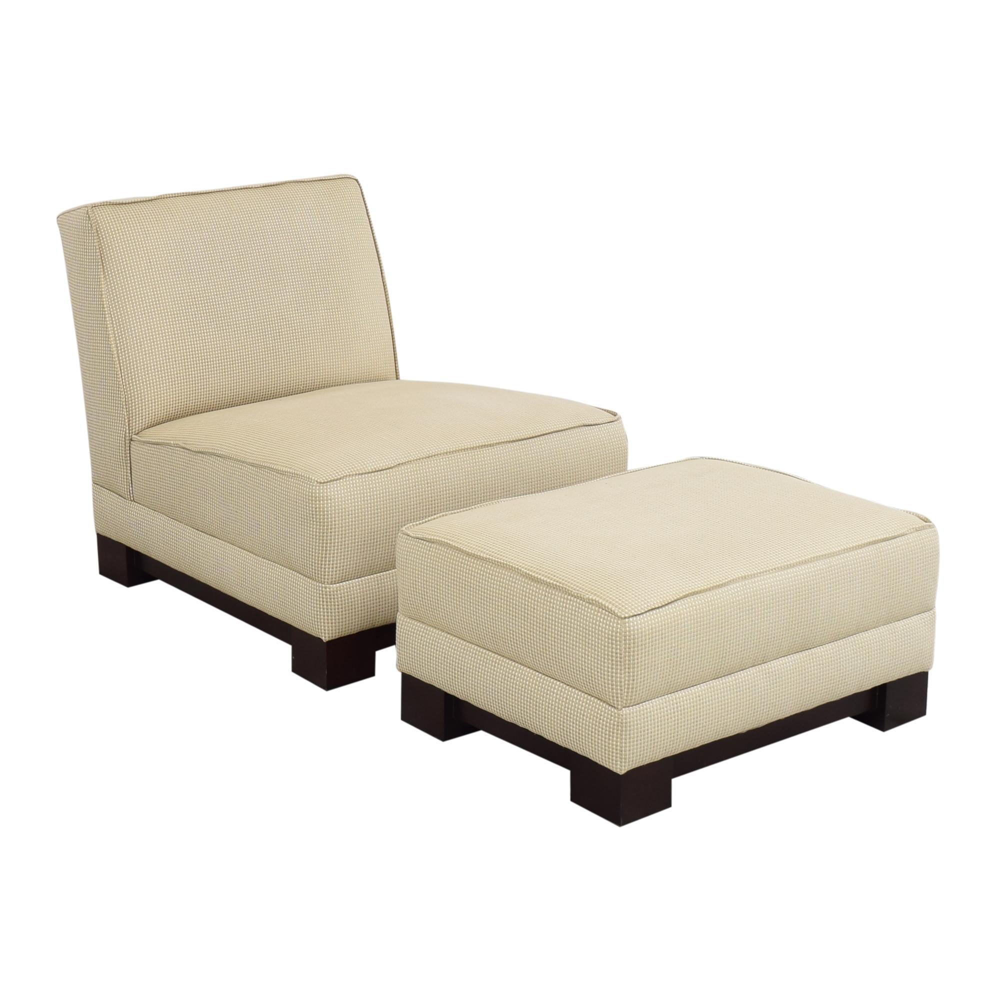 Ralph Lauren Home Ralph Lauren Home Hasley Slipper Chair with Ottoman on sale