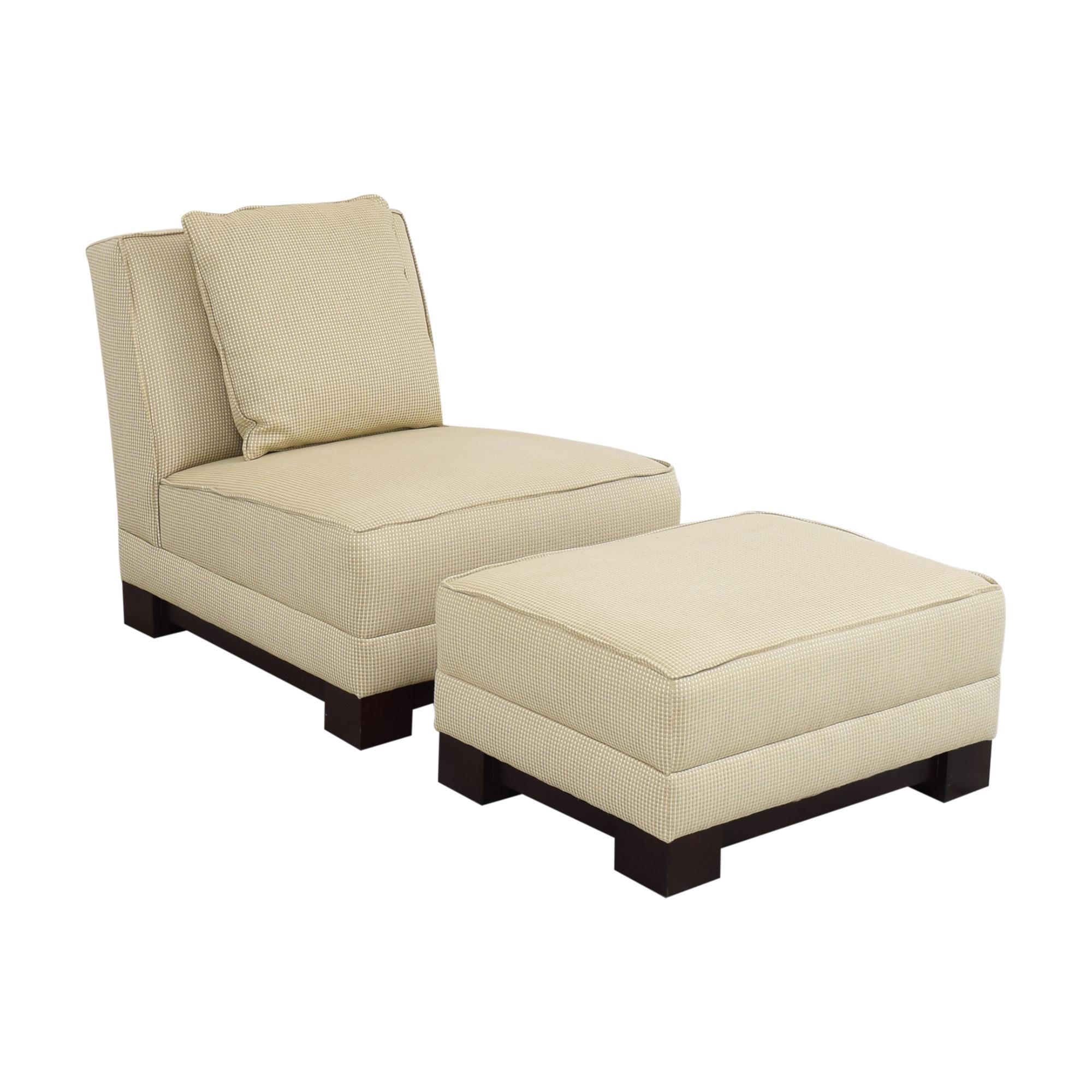 Ralph Lauren Home Ralph Lauren Home Hasley Slipper Chair with Ottoman