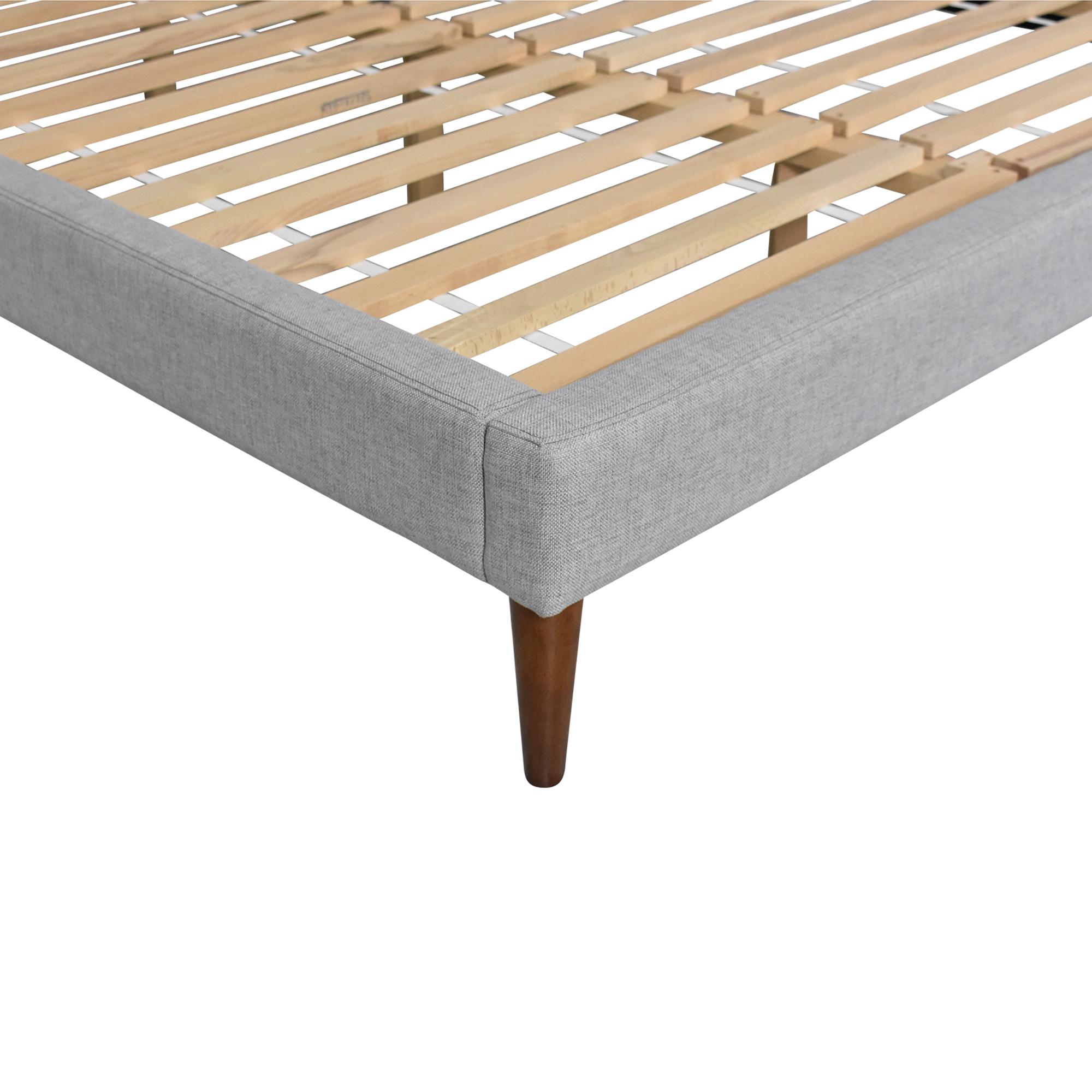 shop West Elm Grid-Tufted Tapered Leg Queen Bed West Elm Bed Frames