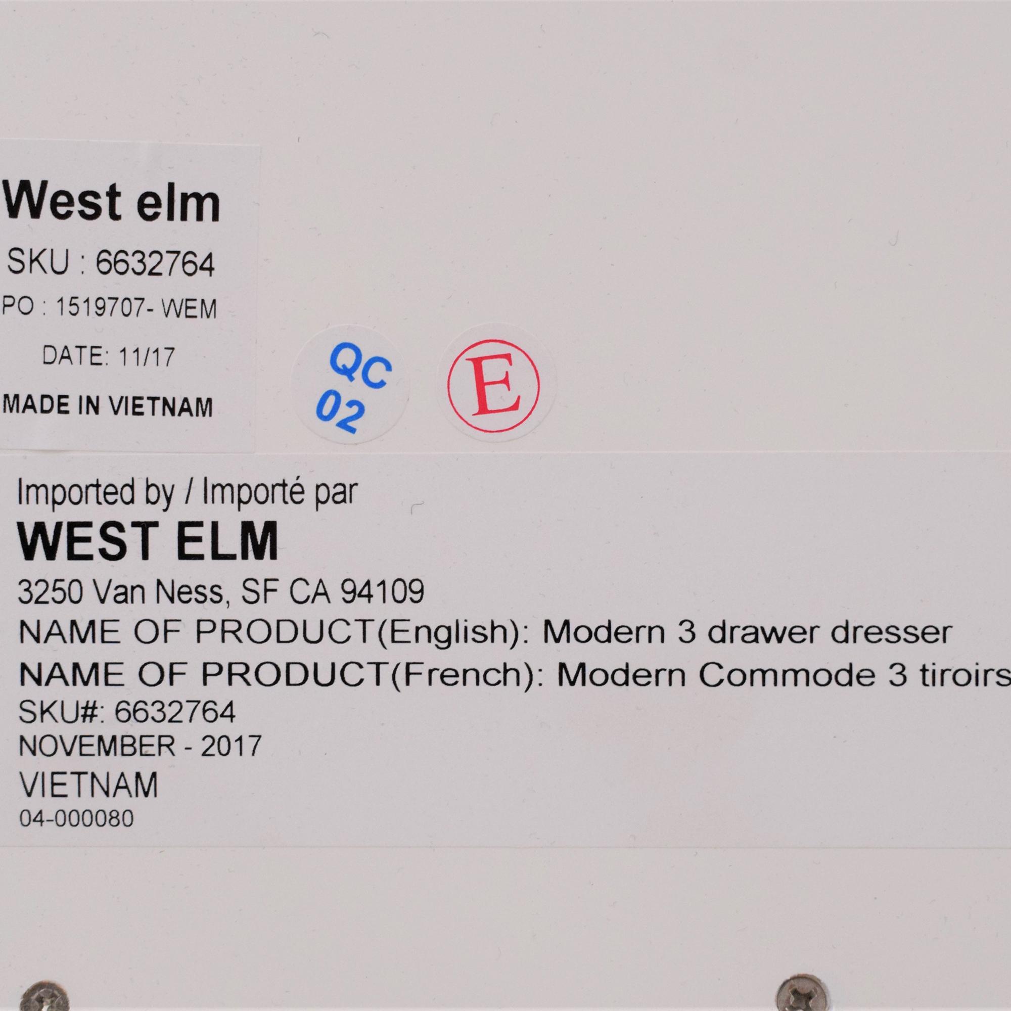 West Elm West Elm Modern 3 Drawer Dresser for sale