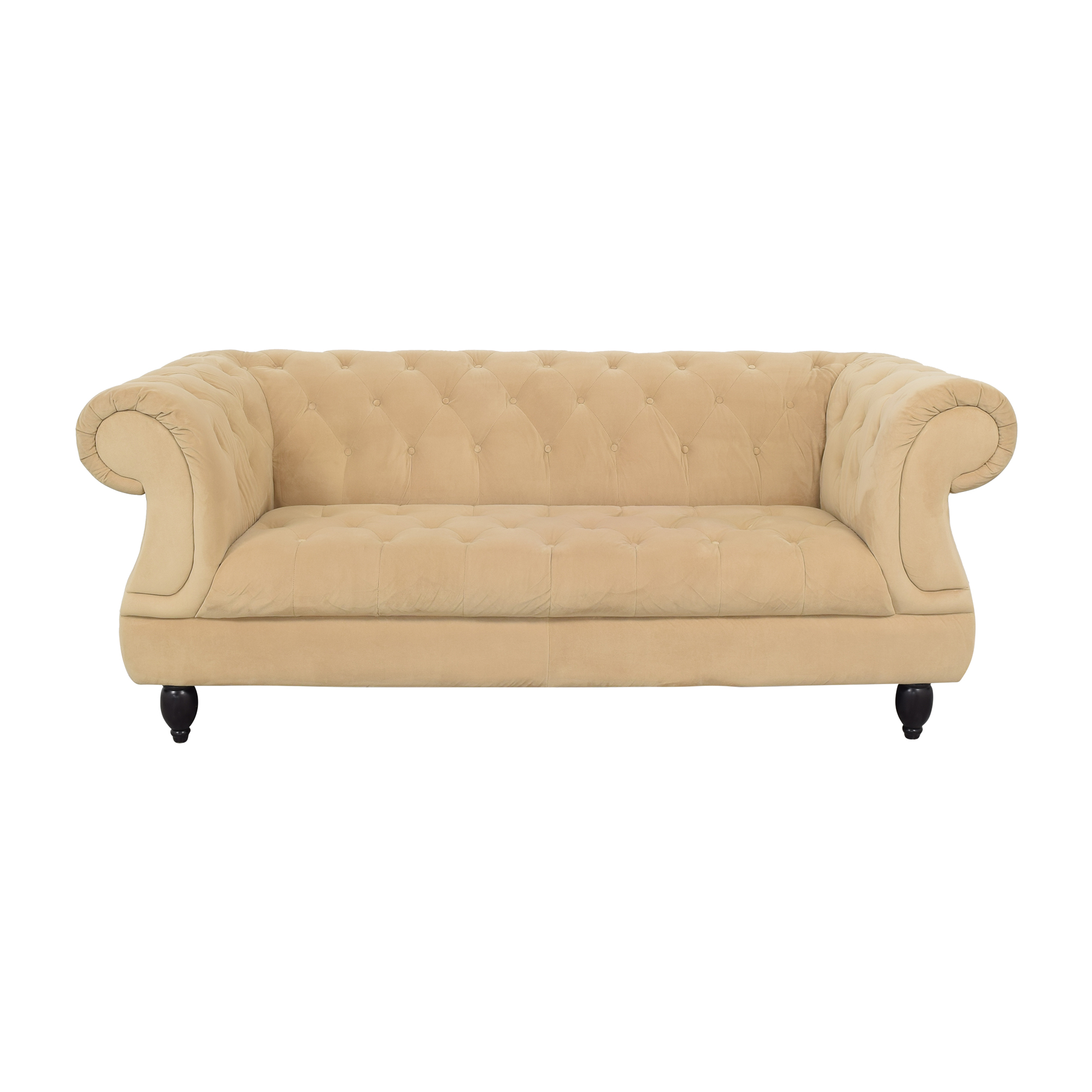 Raymour & Flanigan Raymour & Flanigan Rolled Arm Tufted Nailhead Sofa price