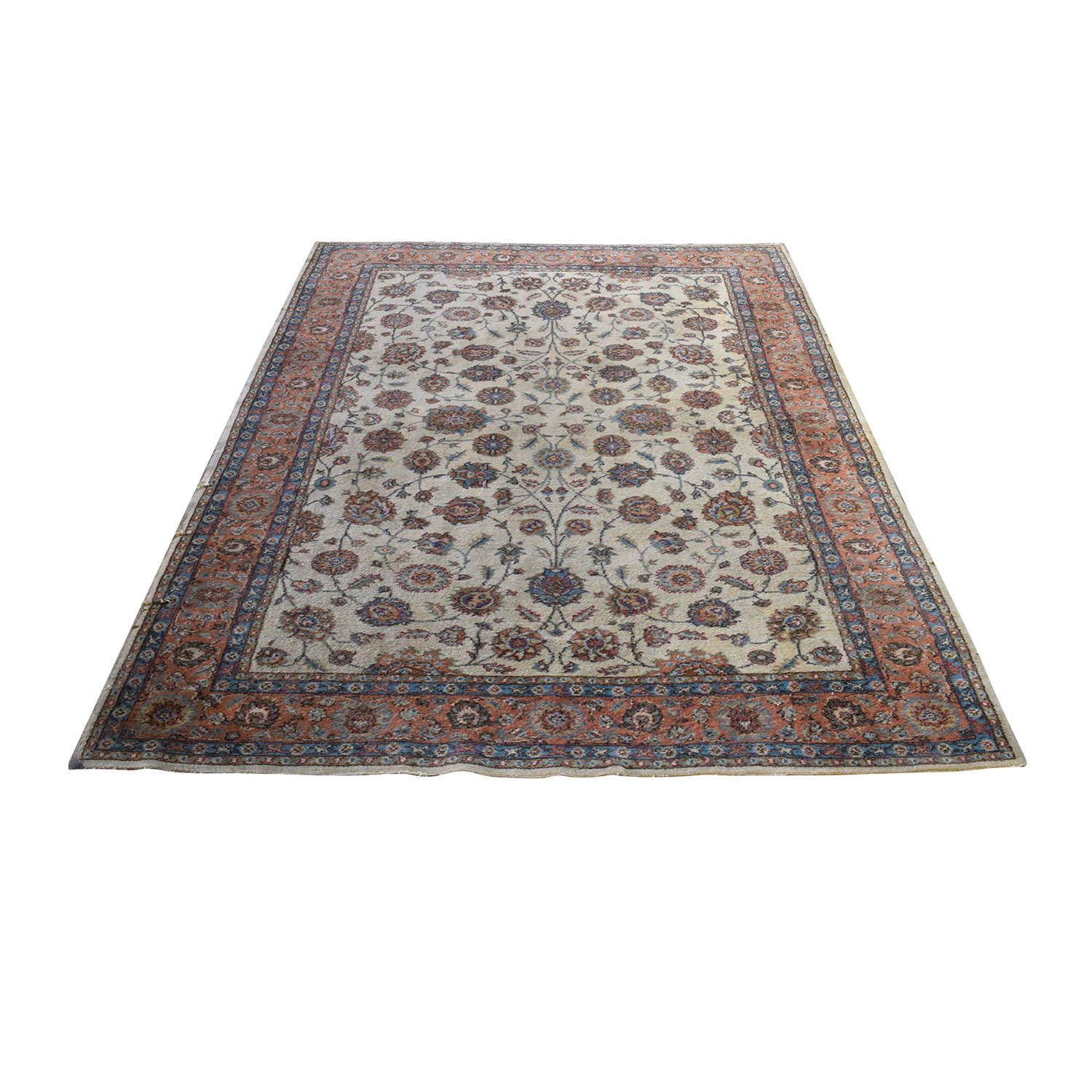 Turkish Beige Red Wool Rug / Rugs