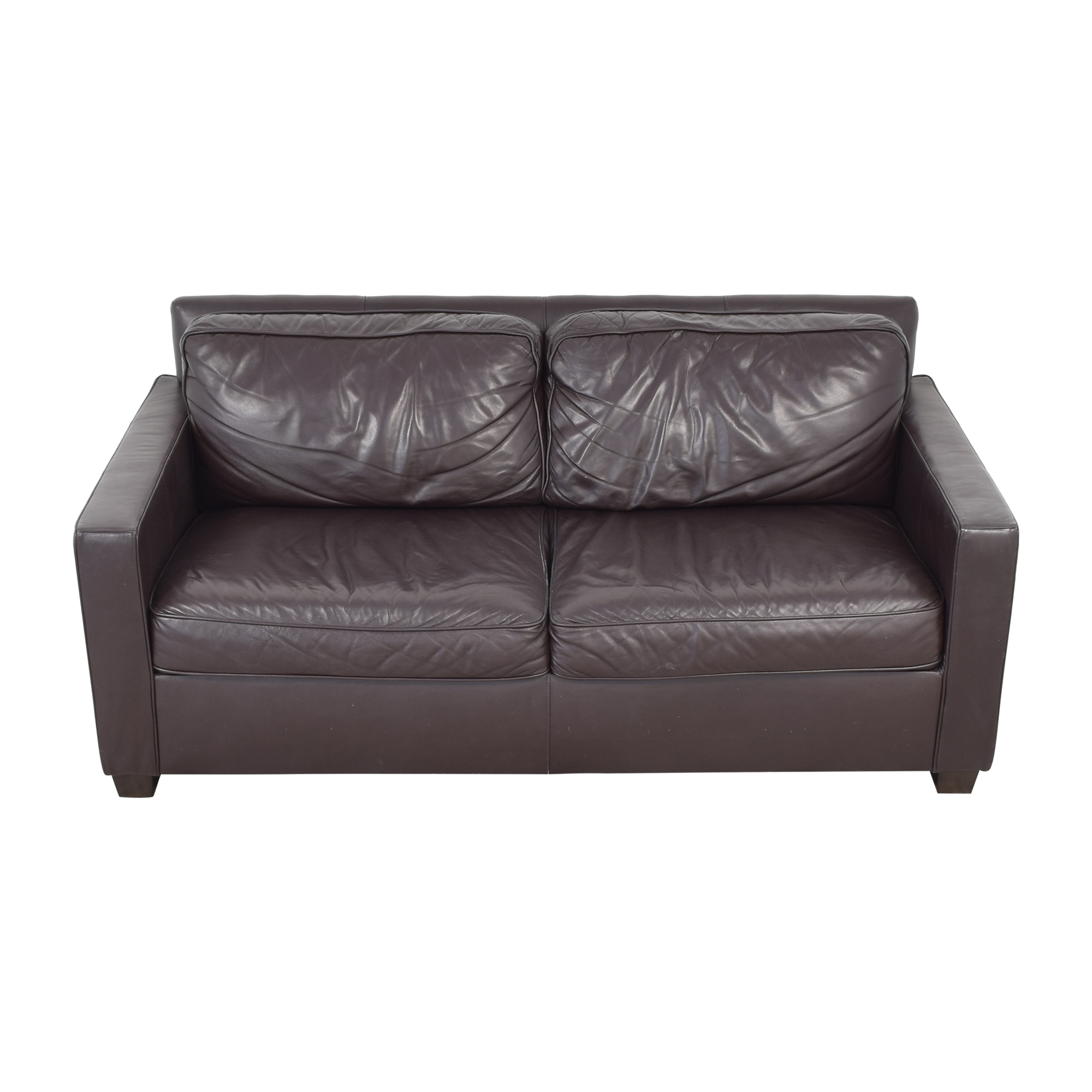 West Elm West Elm Henry Leather Sofa with Ottoman for sale