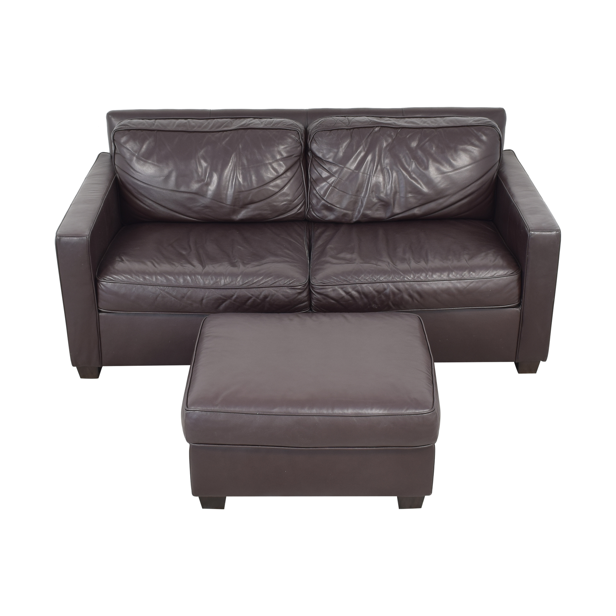West Elm West Elm Henry Leather Sofa with Ottoman