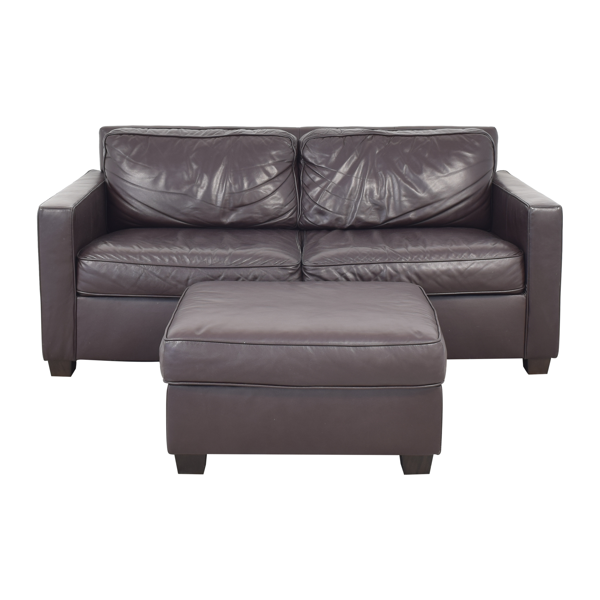 West Elm Henry Leather Sofa with Ottoman sale