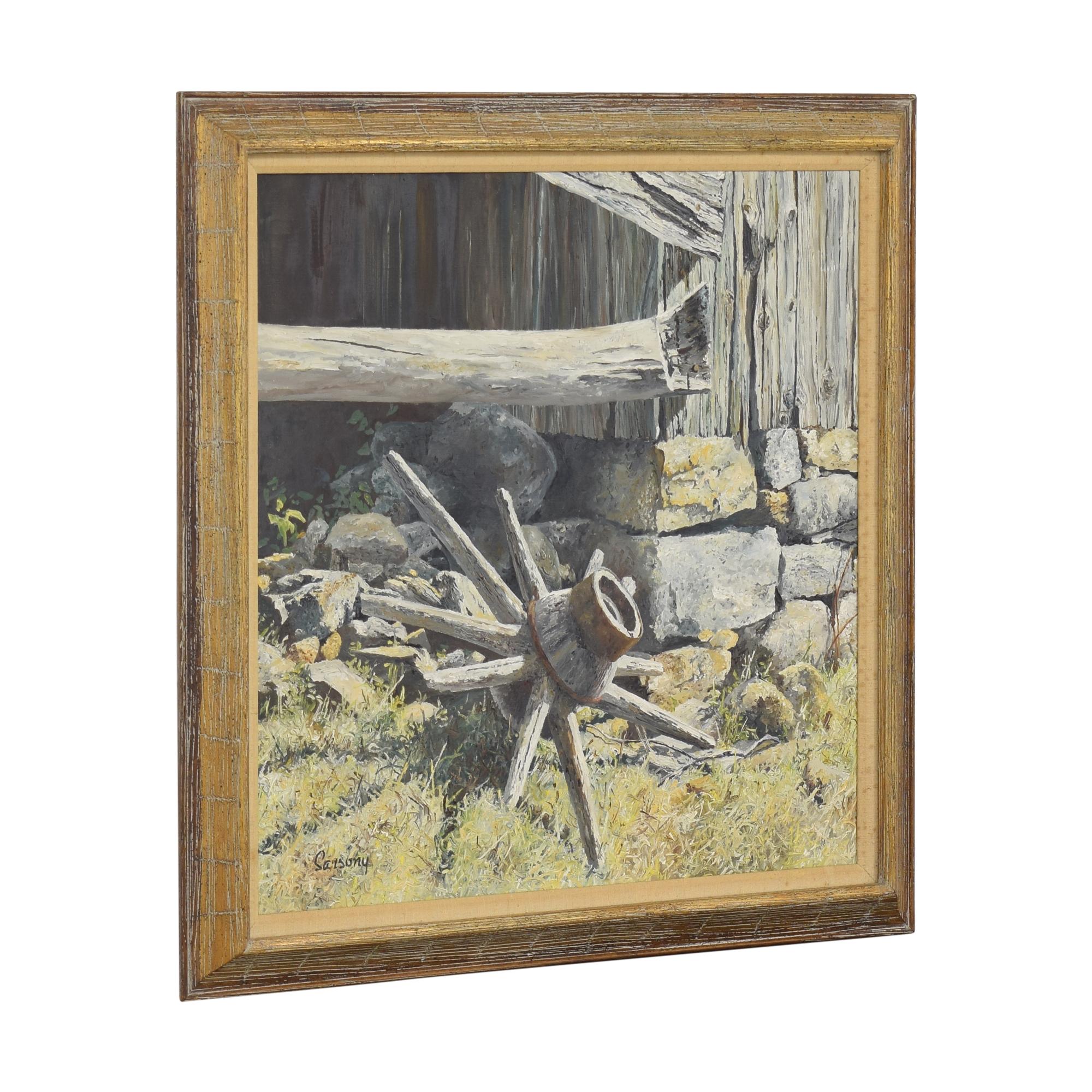 Robert Sarsony Wheel at the Barn Corner Framed Wall Art sale