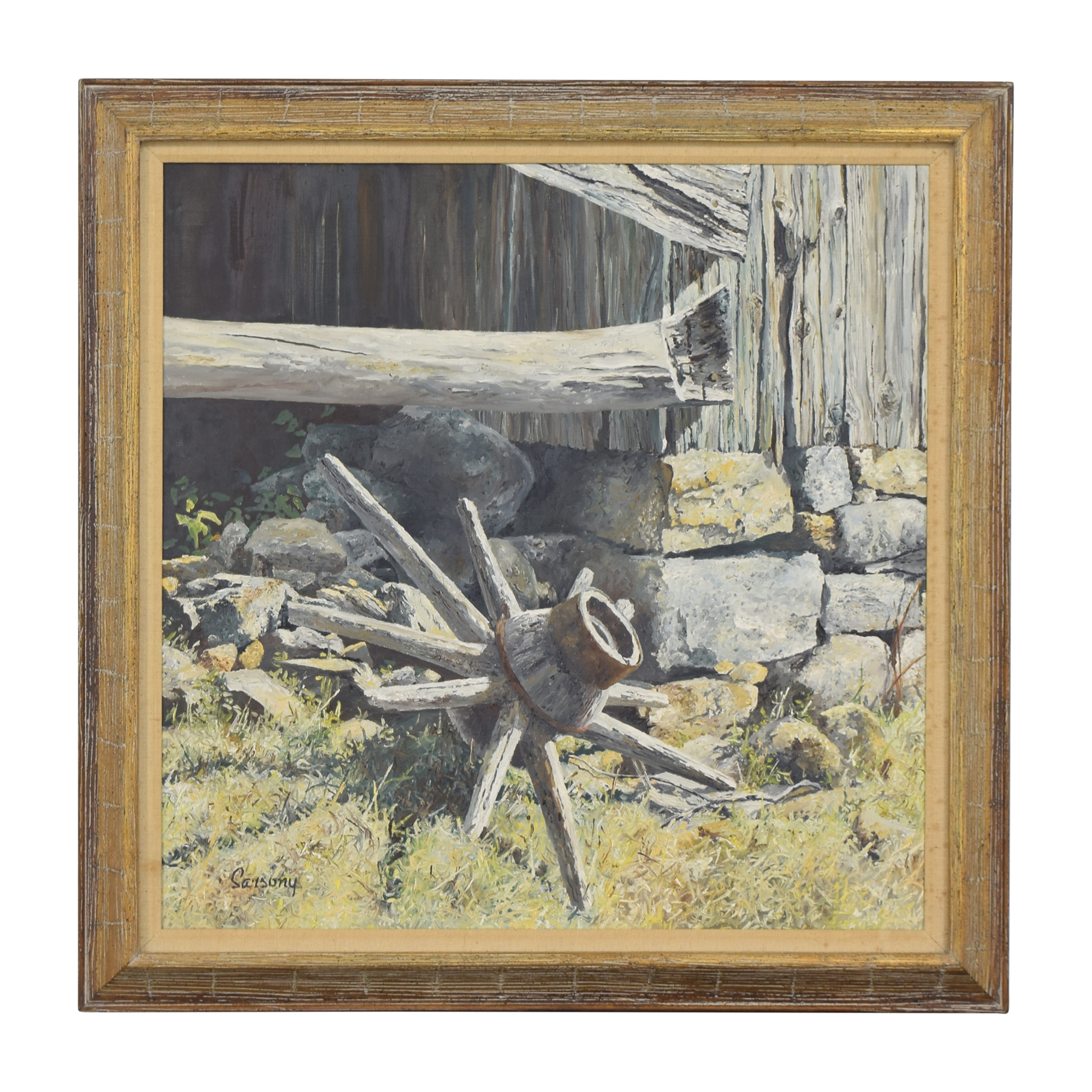 Robert Sarsony Wheel at the Barn Corner Framed Wall Art / Wall Art